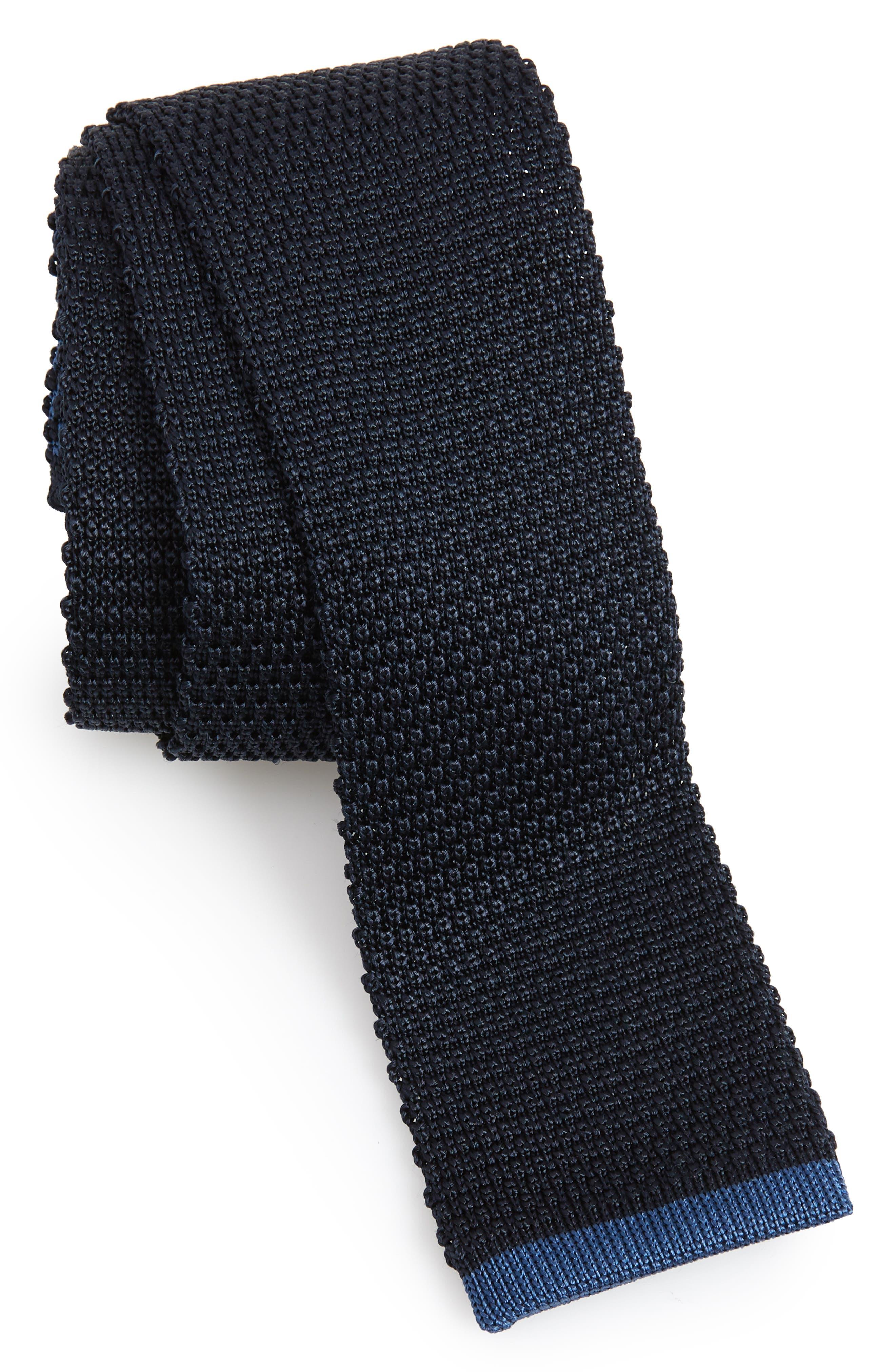 Solid Knit Silk Tie,                         Main,                         color, OPEN BLUE