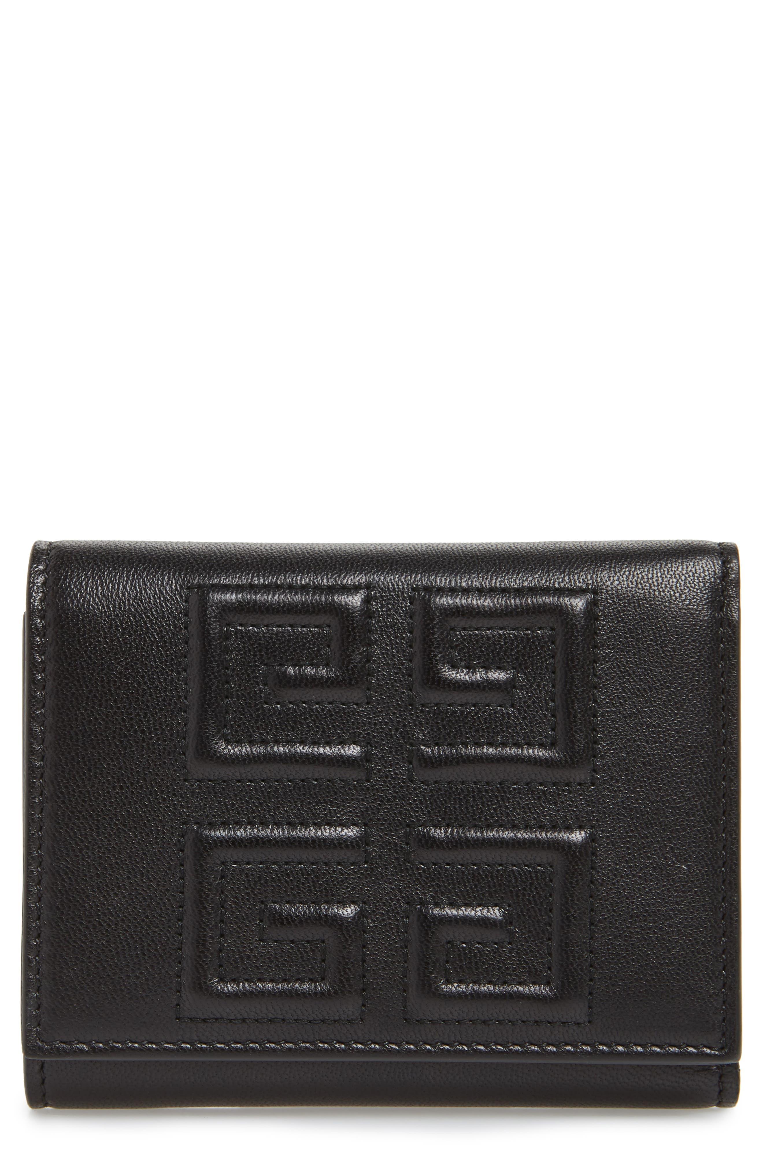 Emblem Lambskin Leather Trifold Wallet,                             Main thumbnail 1, color,                             BLACK