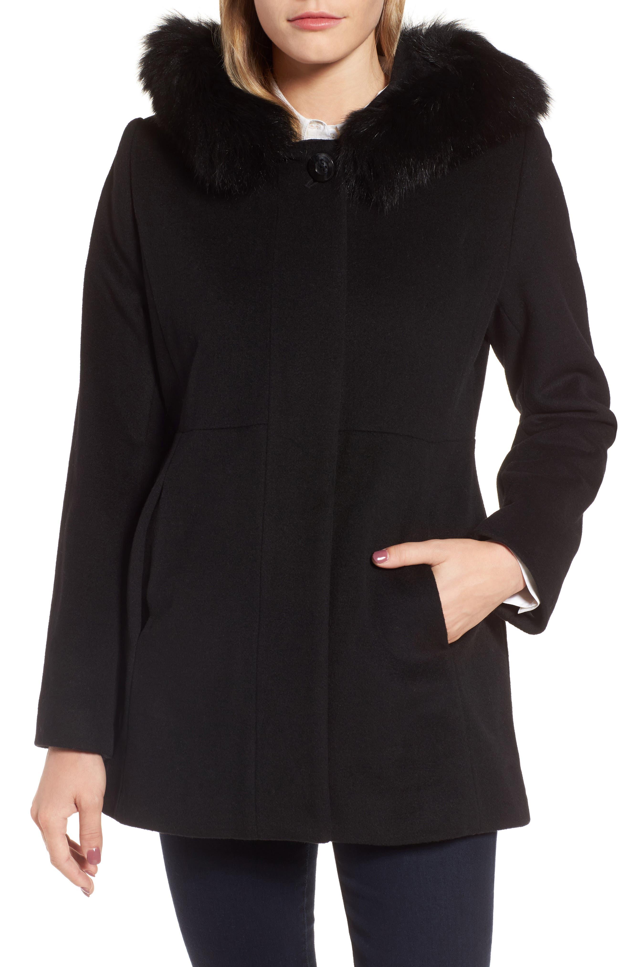 Genuine Fox Fur Trim Hooded Wool Blend Coat,                             Alternate thumbnail 5, color,                             001