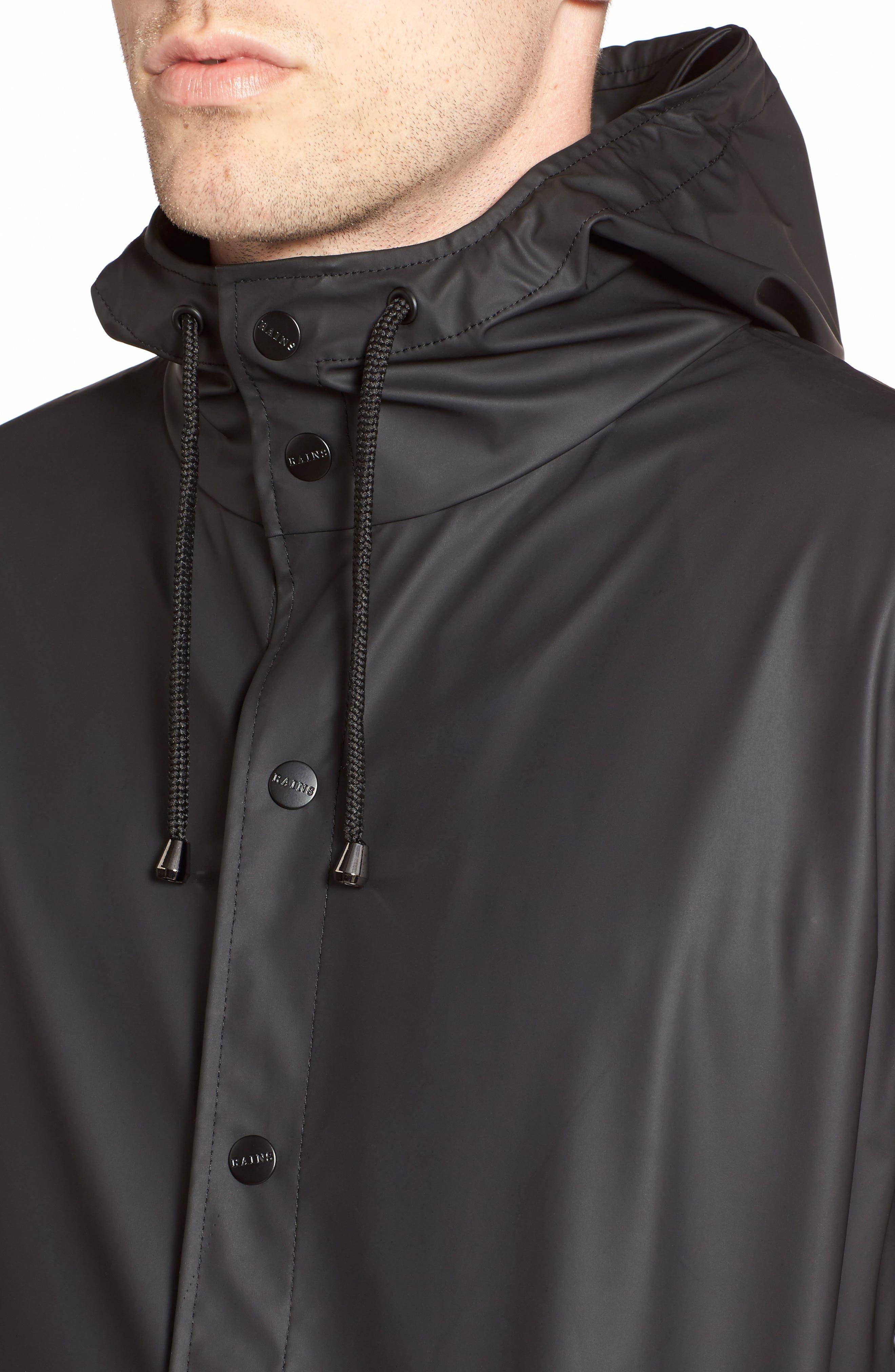 Waterproof Hooded Long Rain Jacket,                             Alternate thumbnail 4, color,                             BLACK