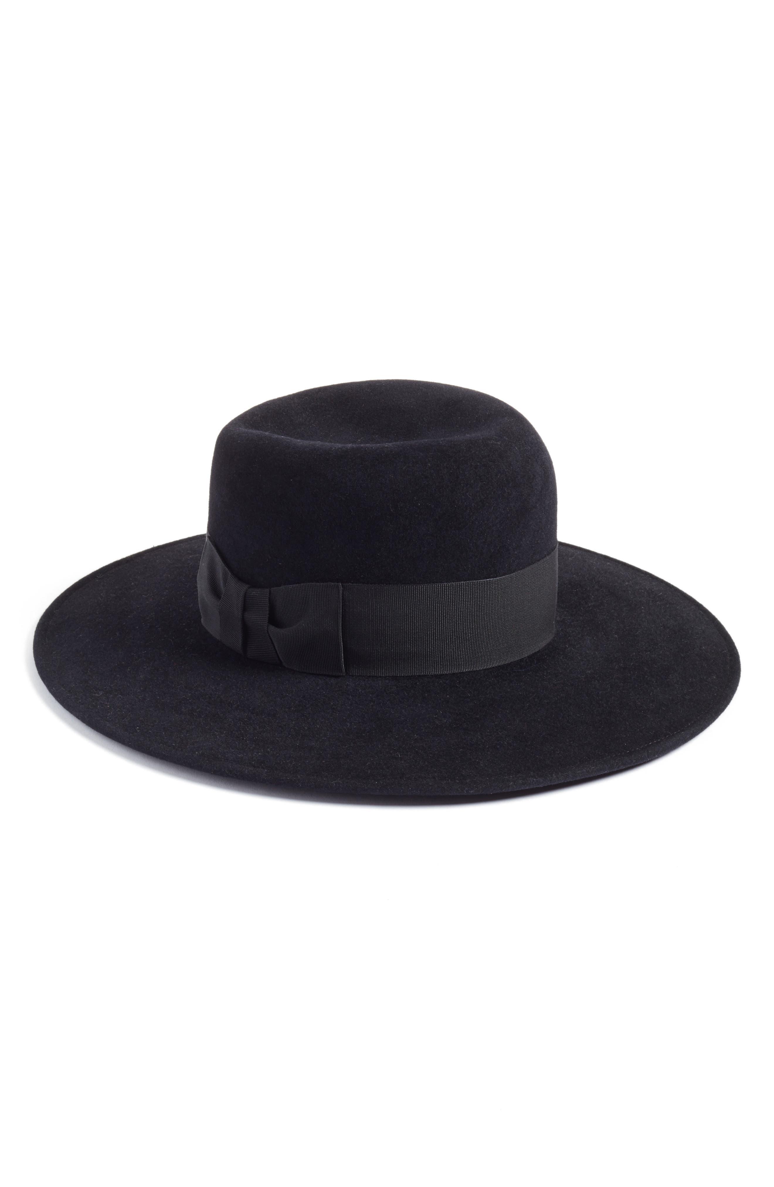 Velour Padre Fur Felt Wide Brim Hat,                         Main,                         color, 001