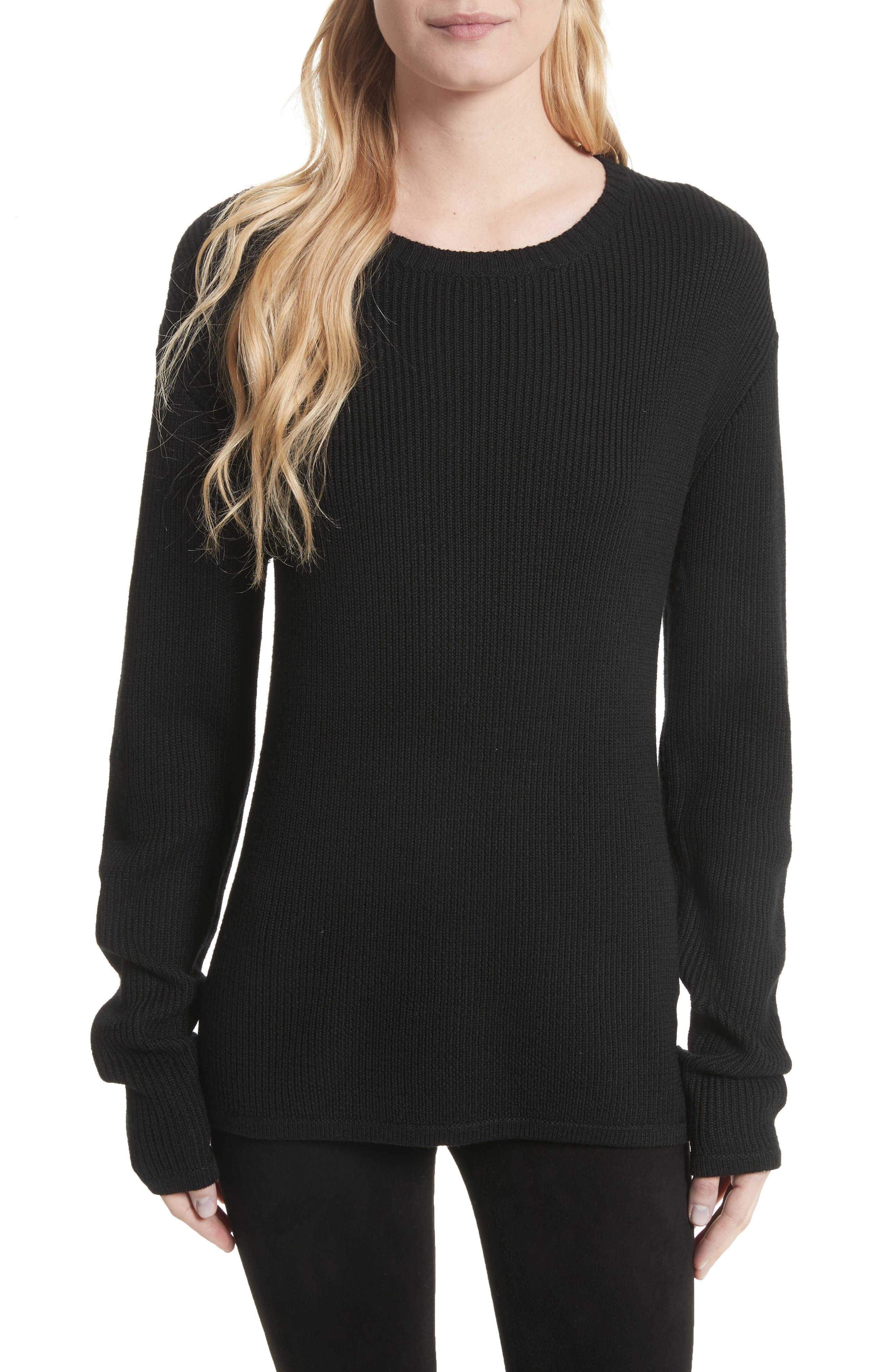 Antonio Lace Back Wool Sweater,                             Main thumbnail 1, color,                             001