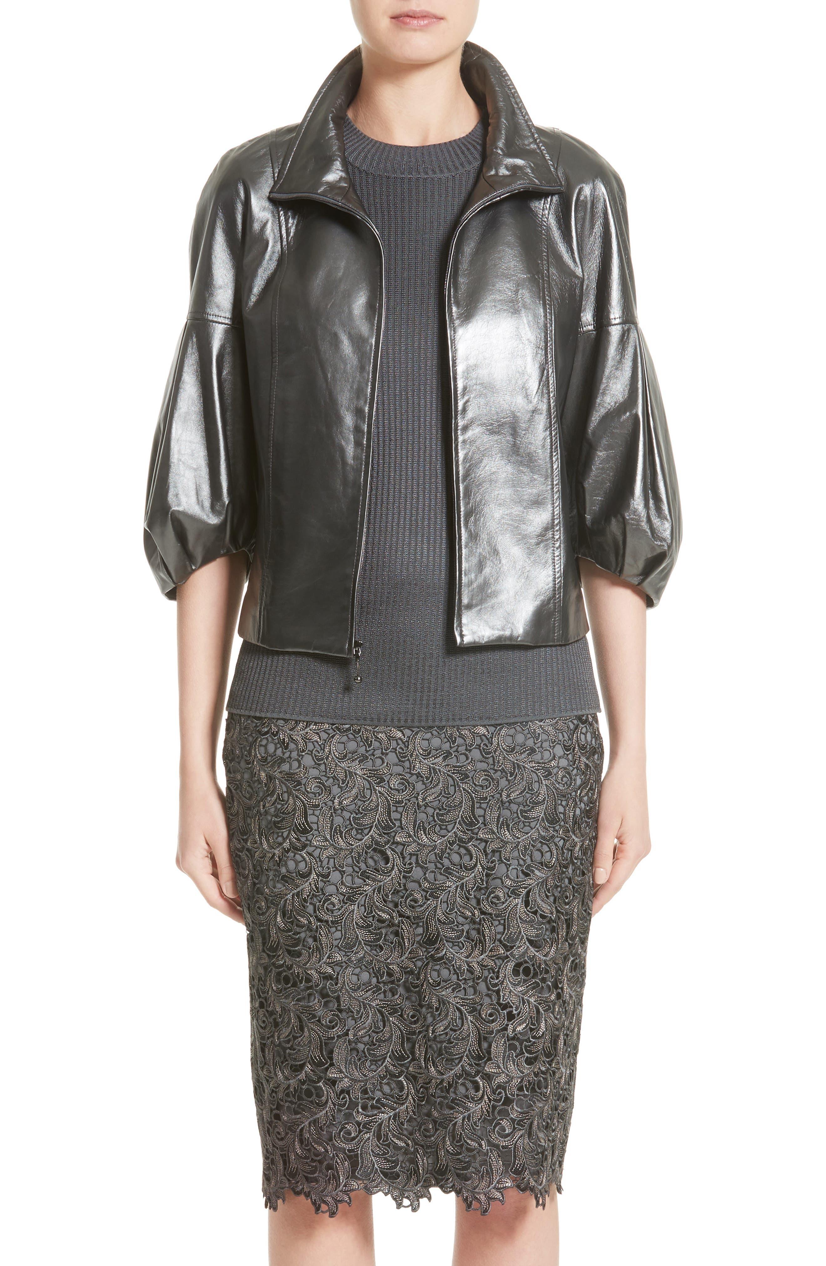 Pearlized Nappa Leather Jacket,                             Main thumbnail 1, color,                             020