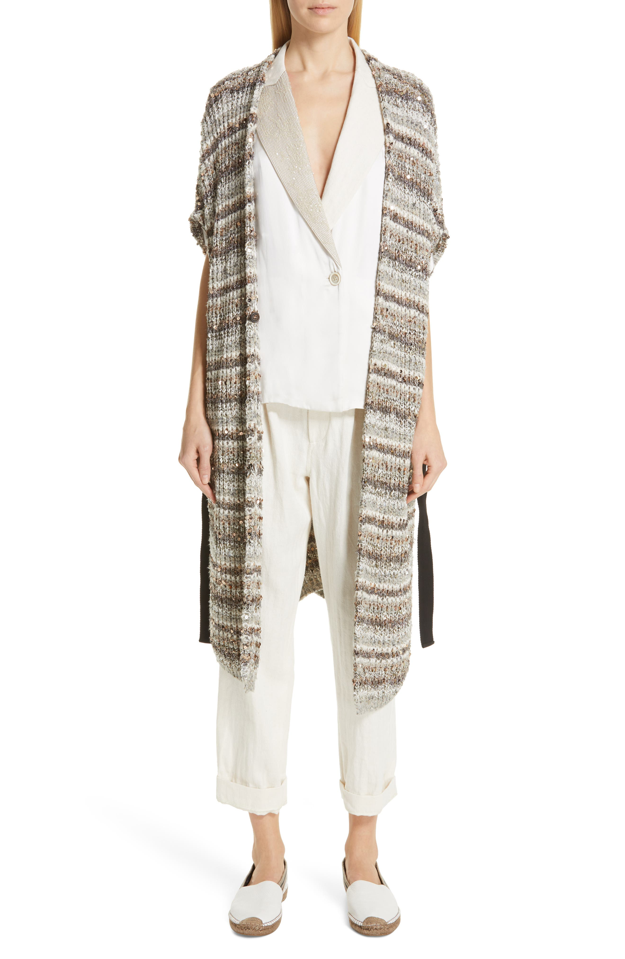 BRUNELLO CUCINELLI,                             Embellished Lapel Satin Kimono Jacket,                             Alternate thumbnail 7, color,                             BONE