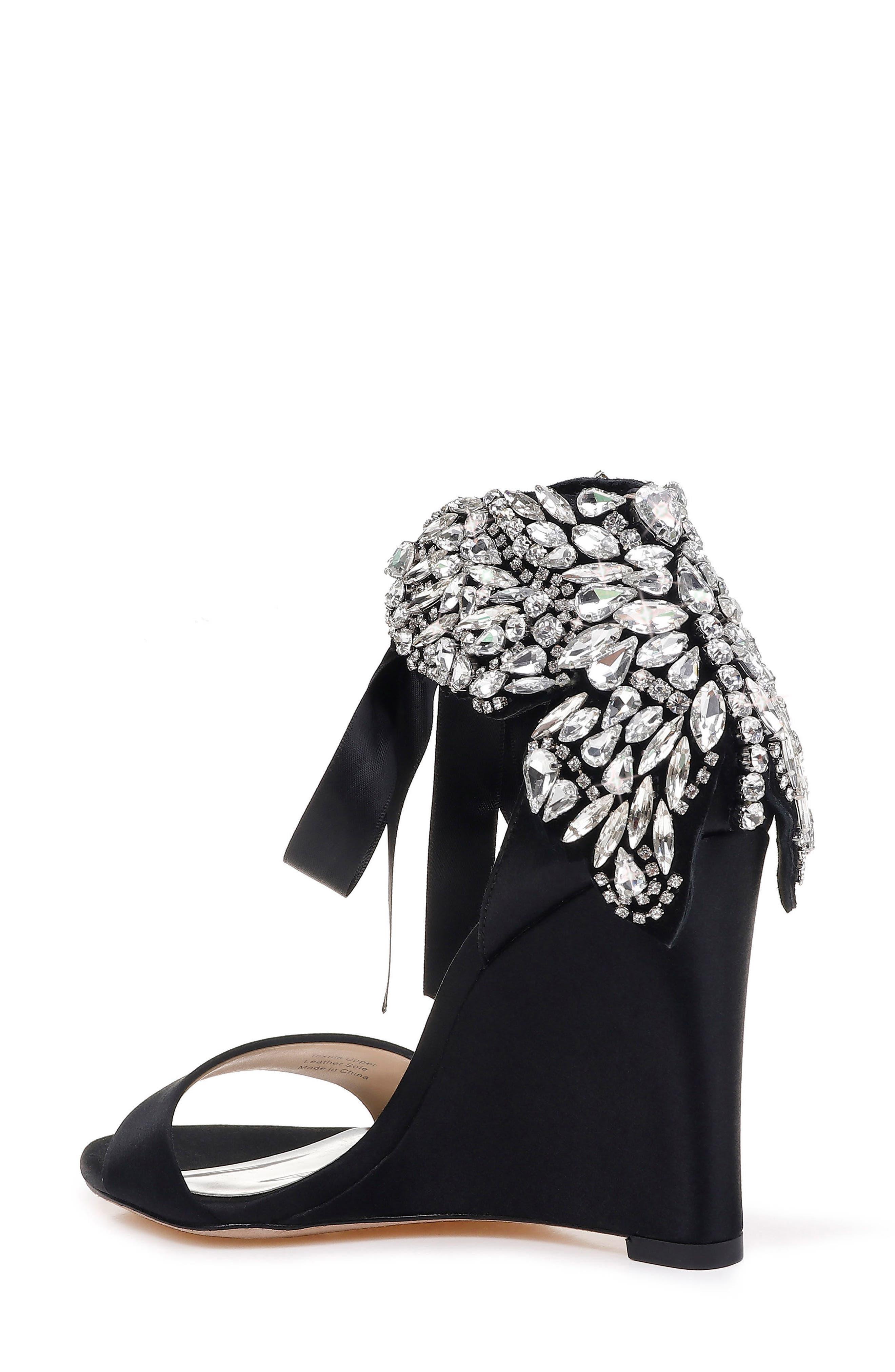 Badgley Mischka Heather Crystal Embellished Wedge,                             Alternate thumbnail 2, color,                             BLACK SATIN