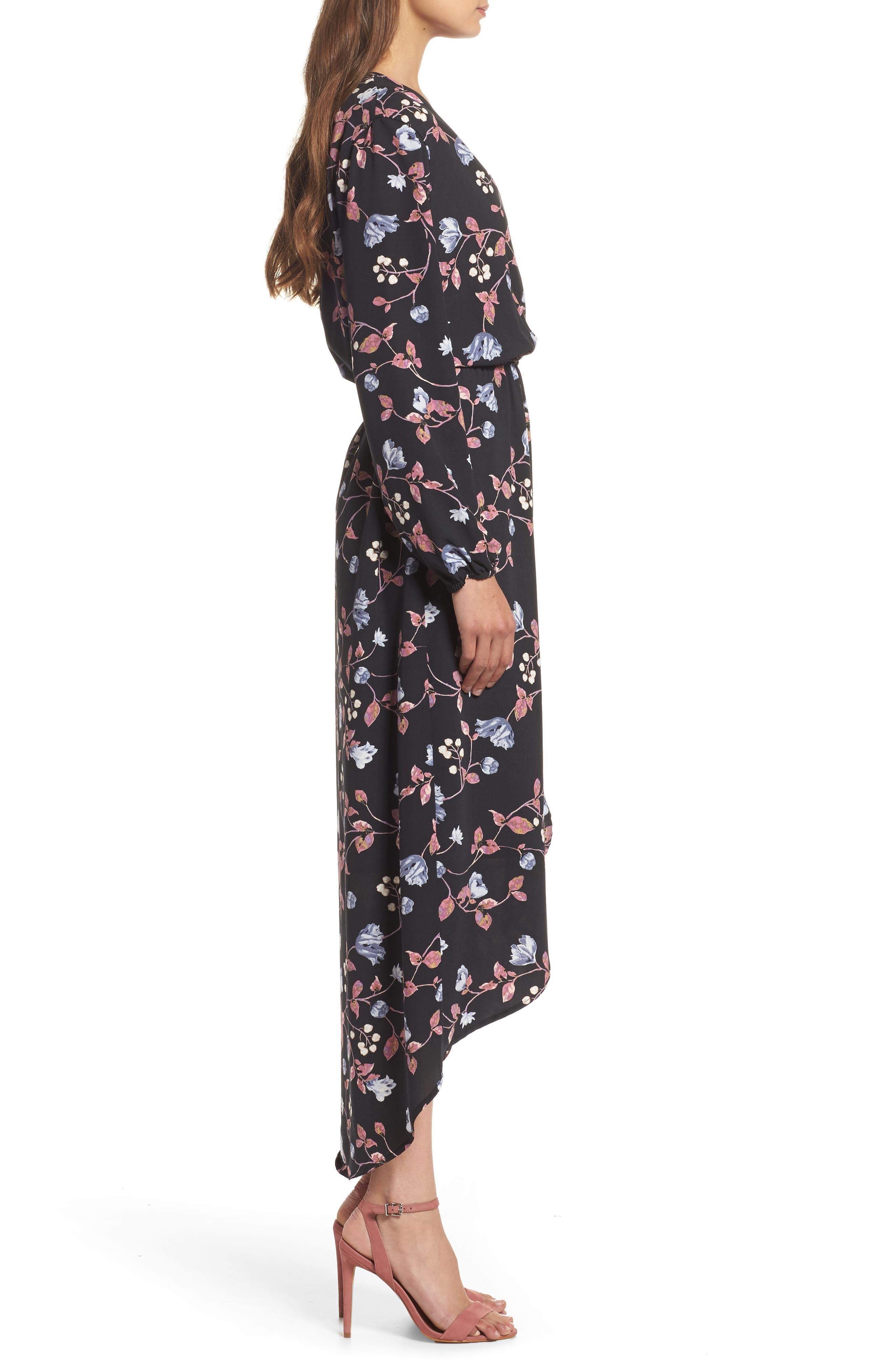 Wrap High/Low Dress,                             Alternate thumbnail 3, color,                             005