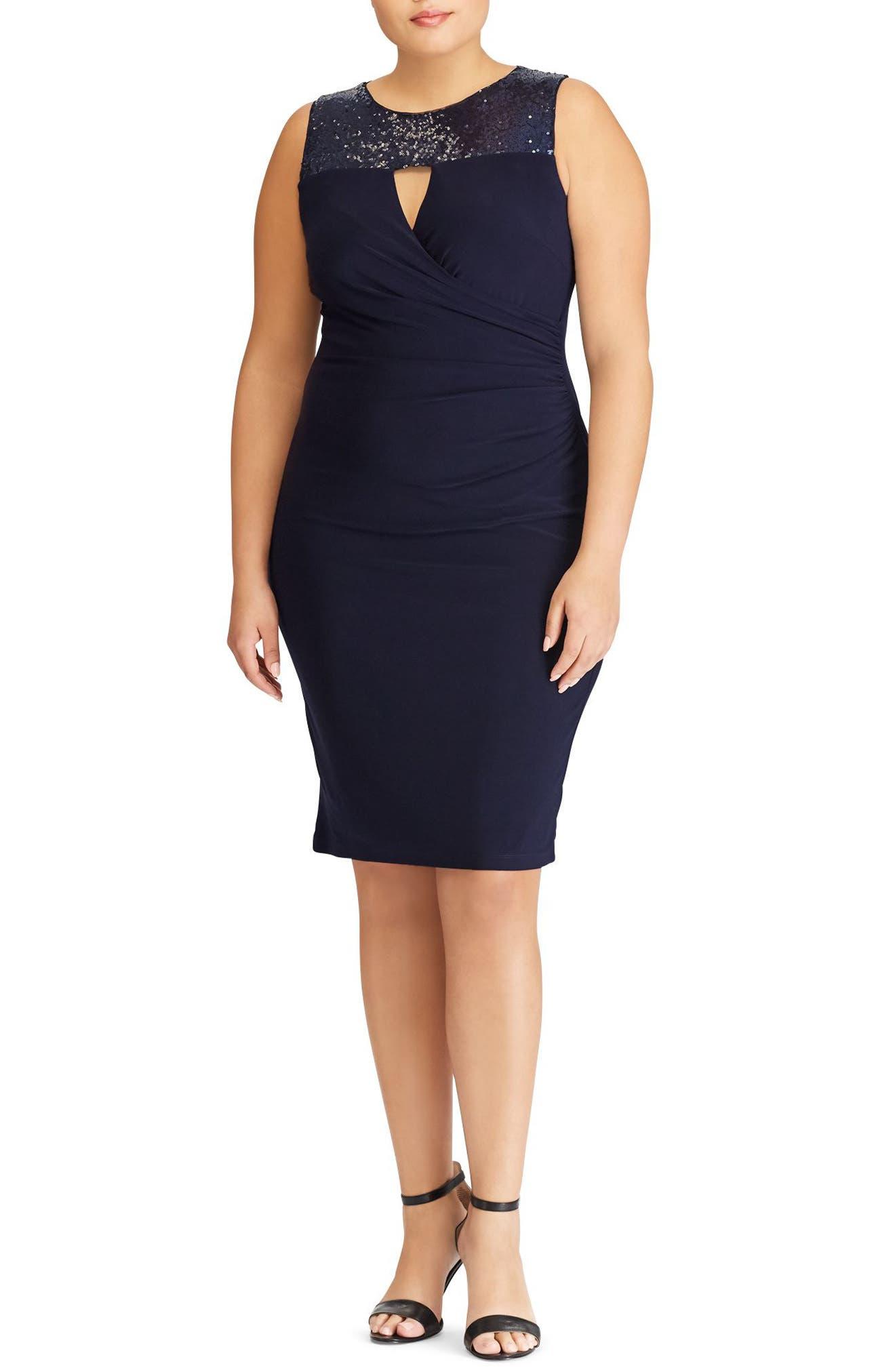 Sequin Yoke Sheath Dress,                         Main,                         color, 410