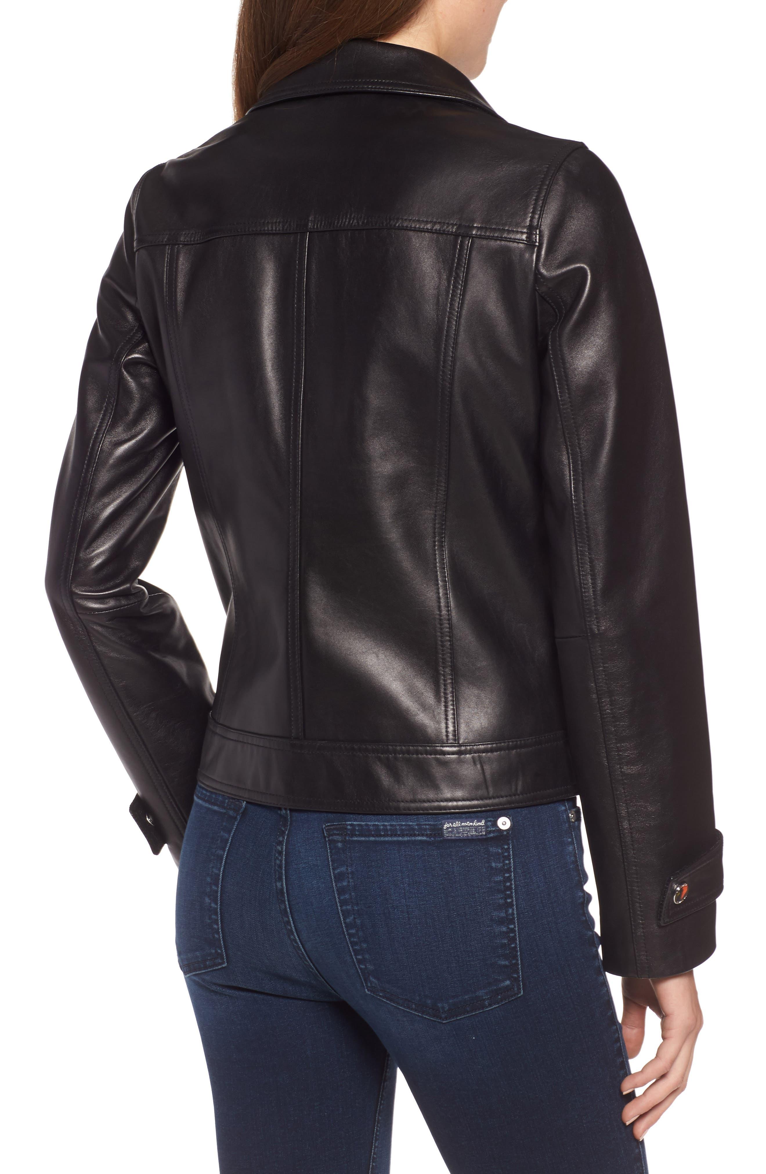 Esther Leather Trucker Jacket,                             Alternate thumbnail 2, color,                             BLACK