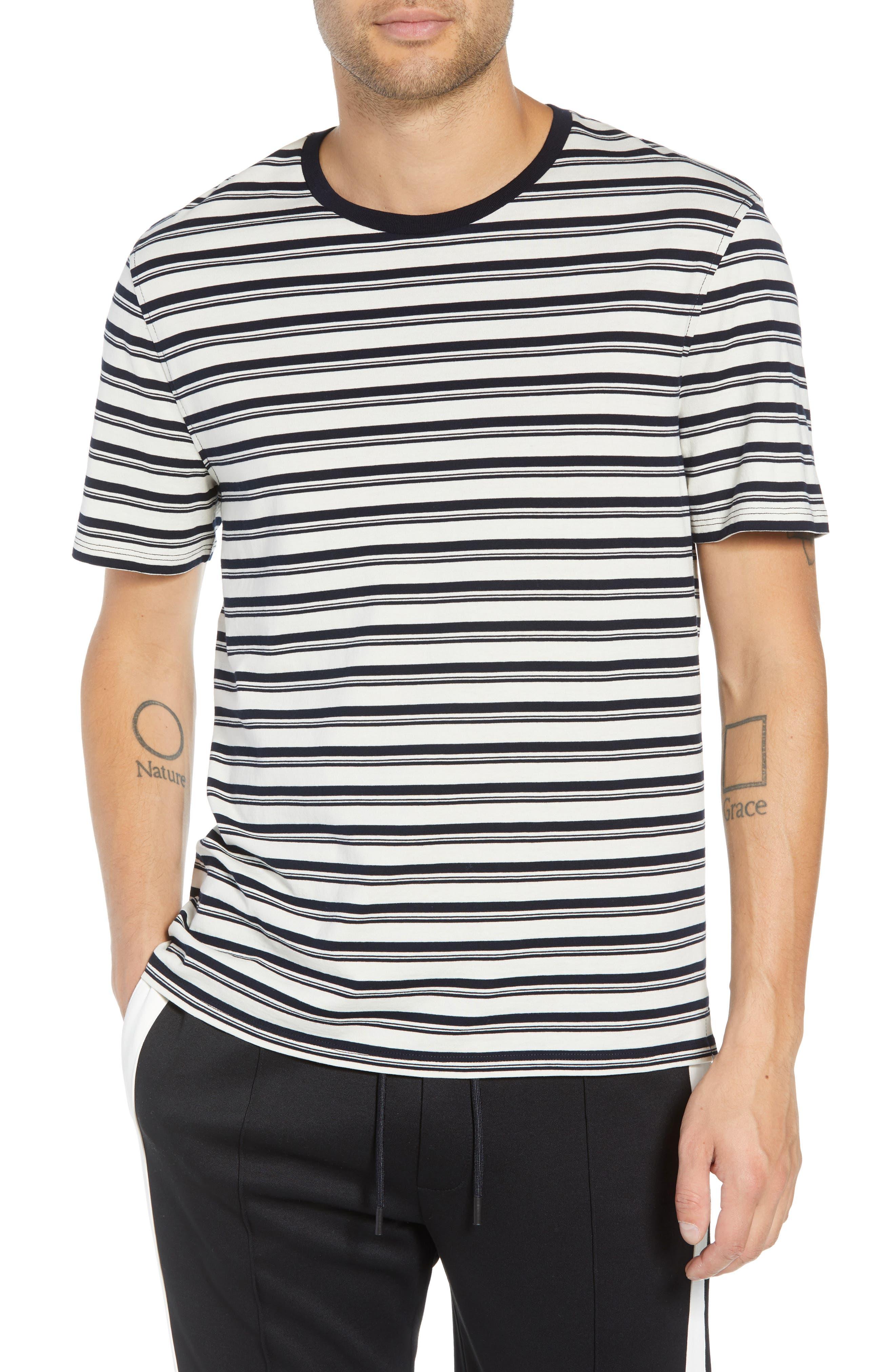 Variegated Stripe Regular Fit Cotton Crewneck T-Shirt,                         Main,                         color, 400