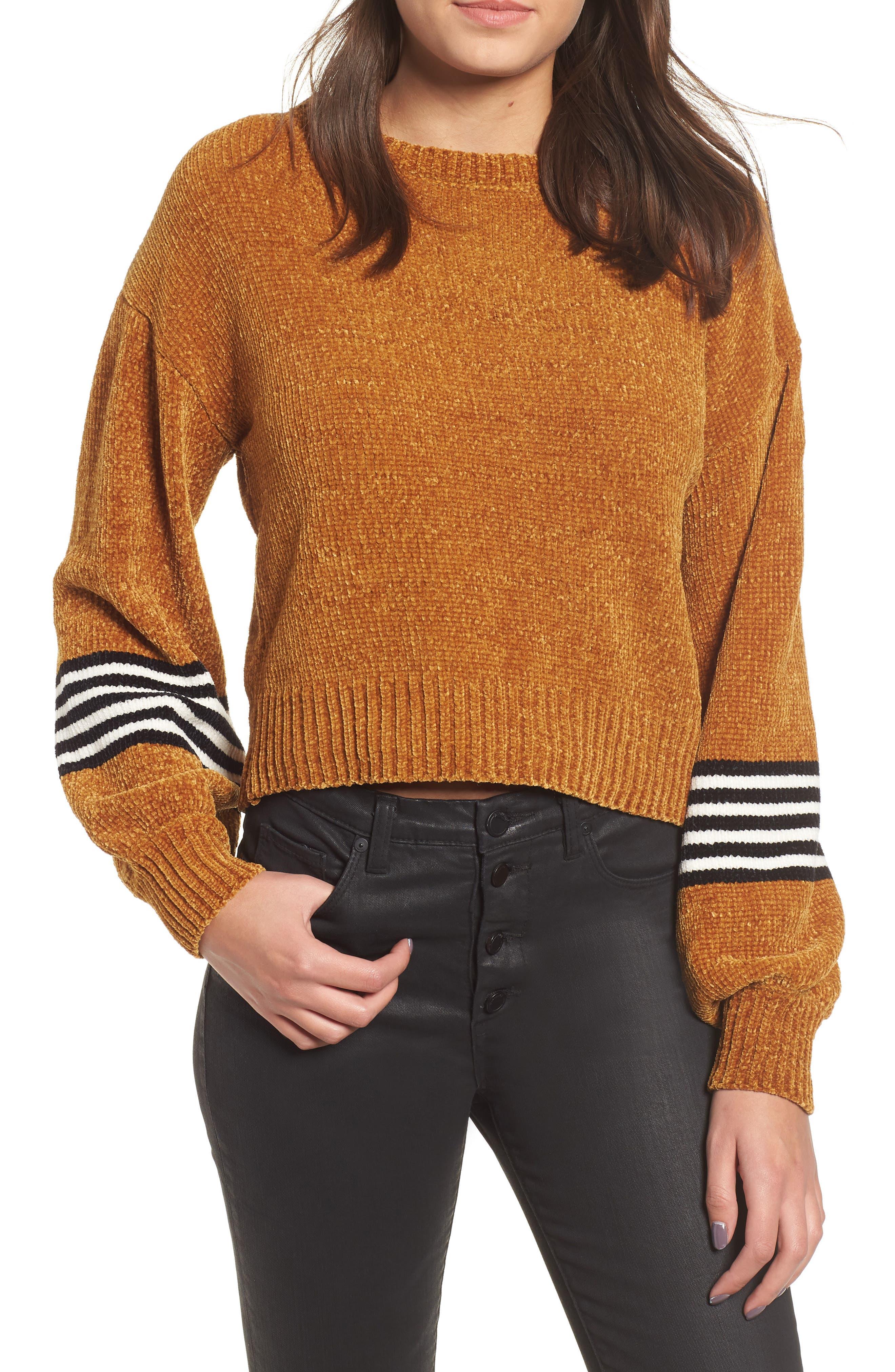 Stripe Sleeve Chenille Sweater, Main, color, 700