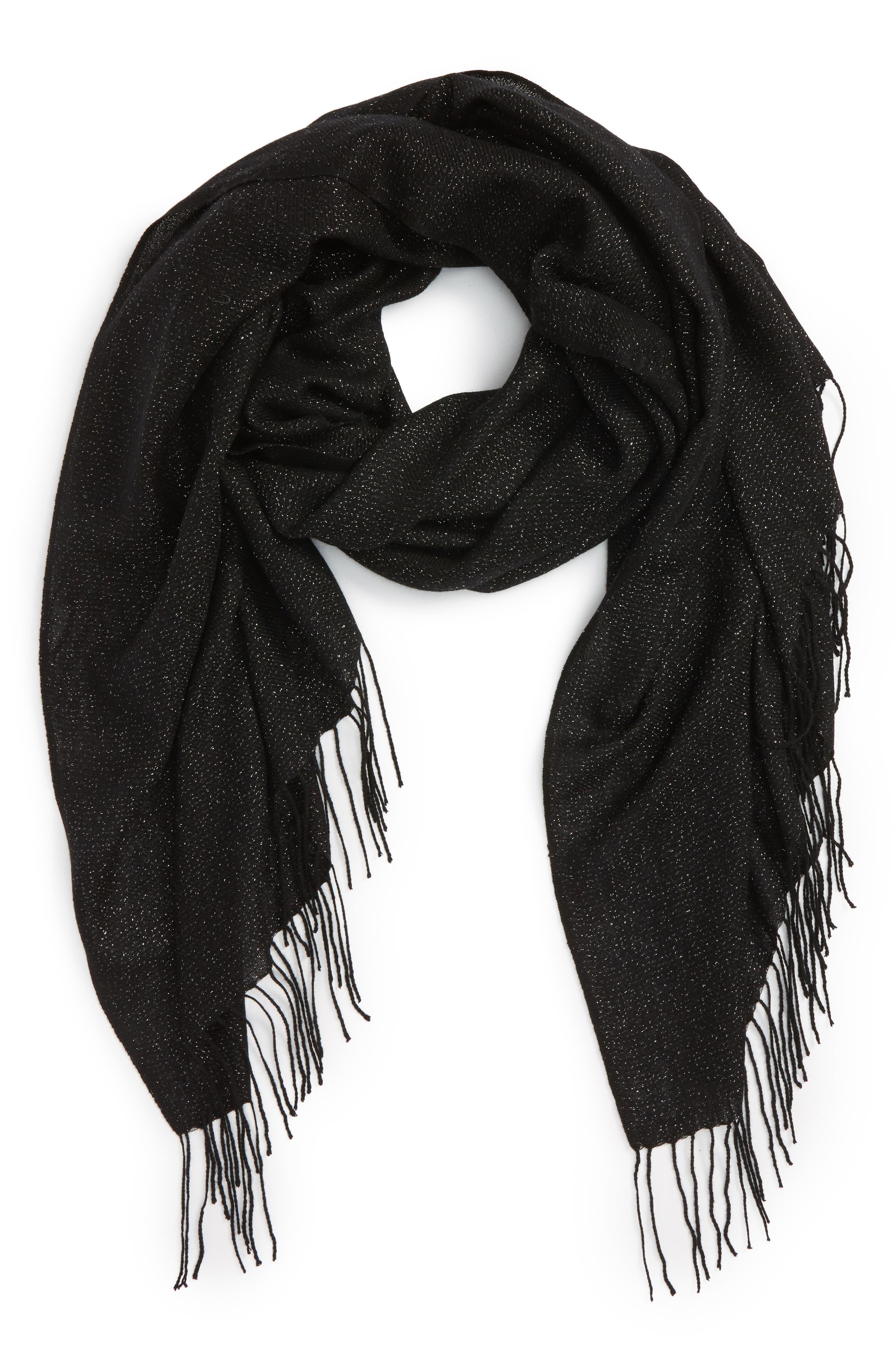 Metallic Wool Blend Scarf,                             Alternate thumbnail 2, color,                             BLACK COMBO