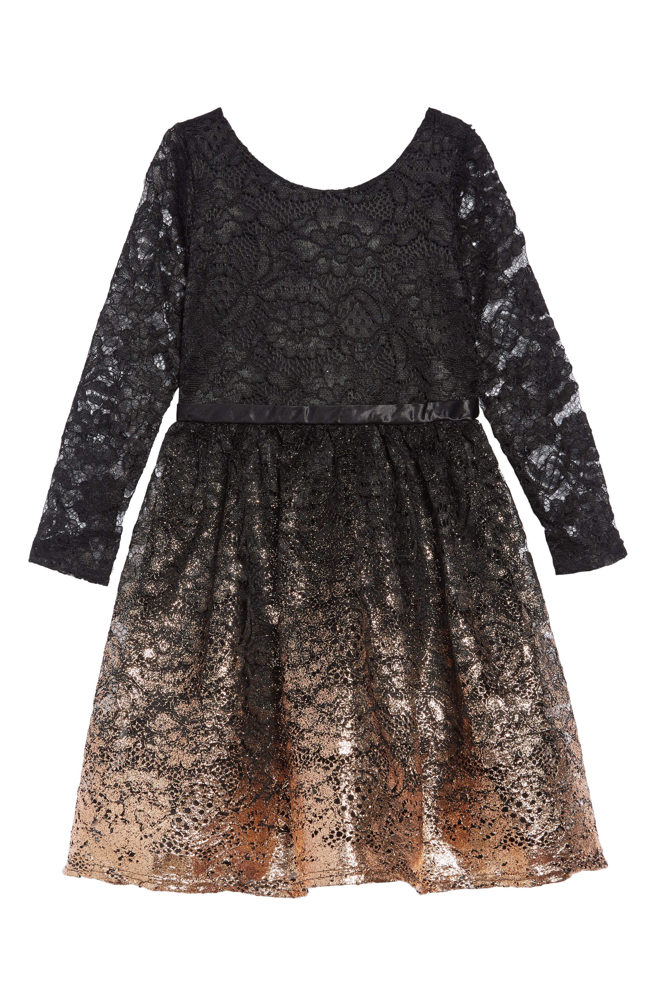 Lace Gold Ombré Dress,                             Main thumbnail 1, color,                             BLACK GOLD