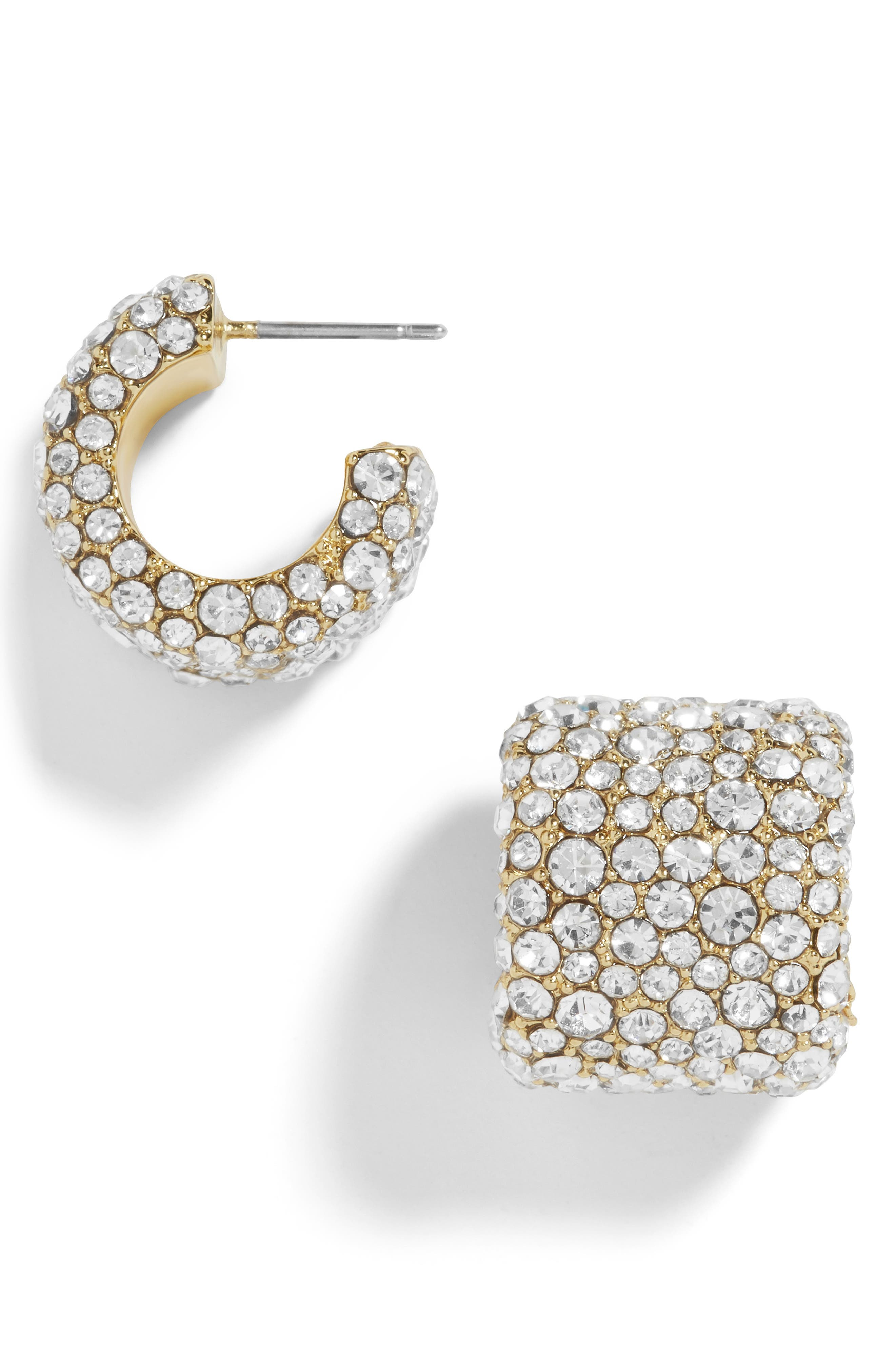 Jocelyn Huggie Earrings, Main, color, CLEAR