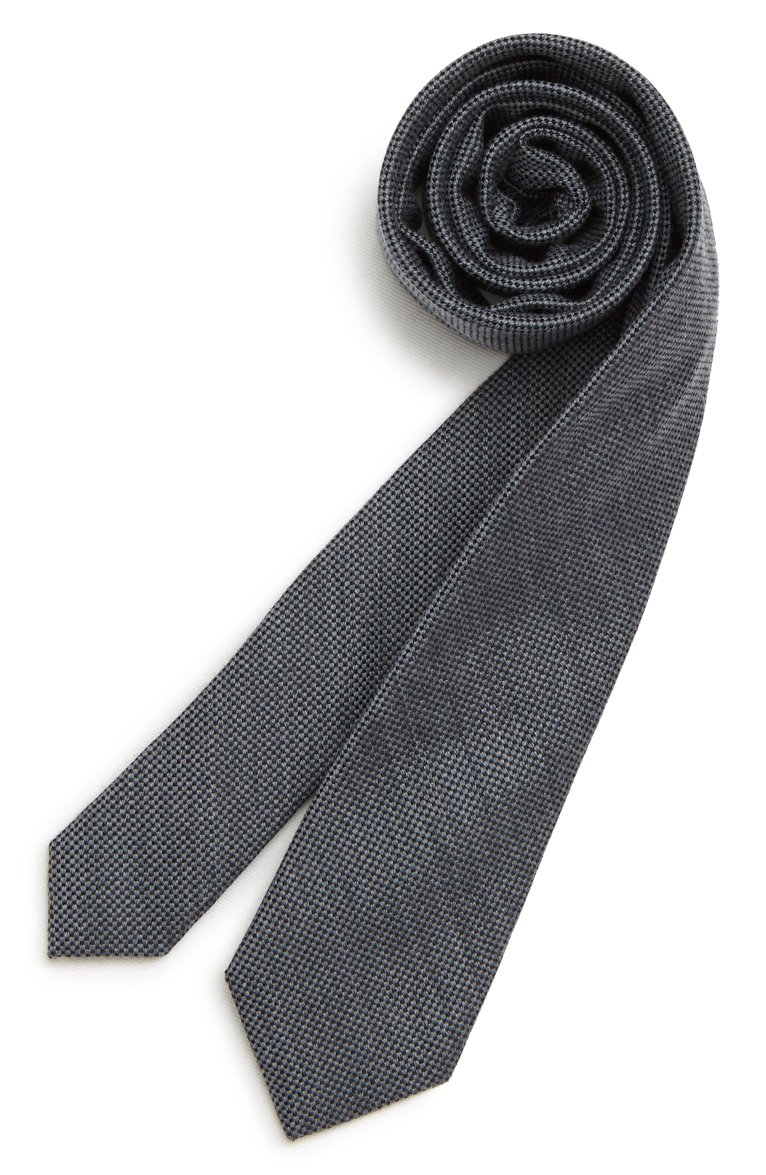 Boys Nordstrom Solid Wool  Silk Tie
