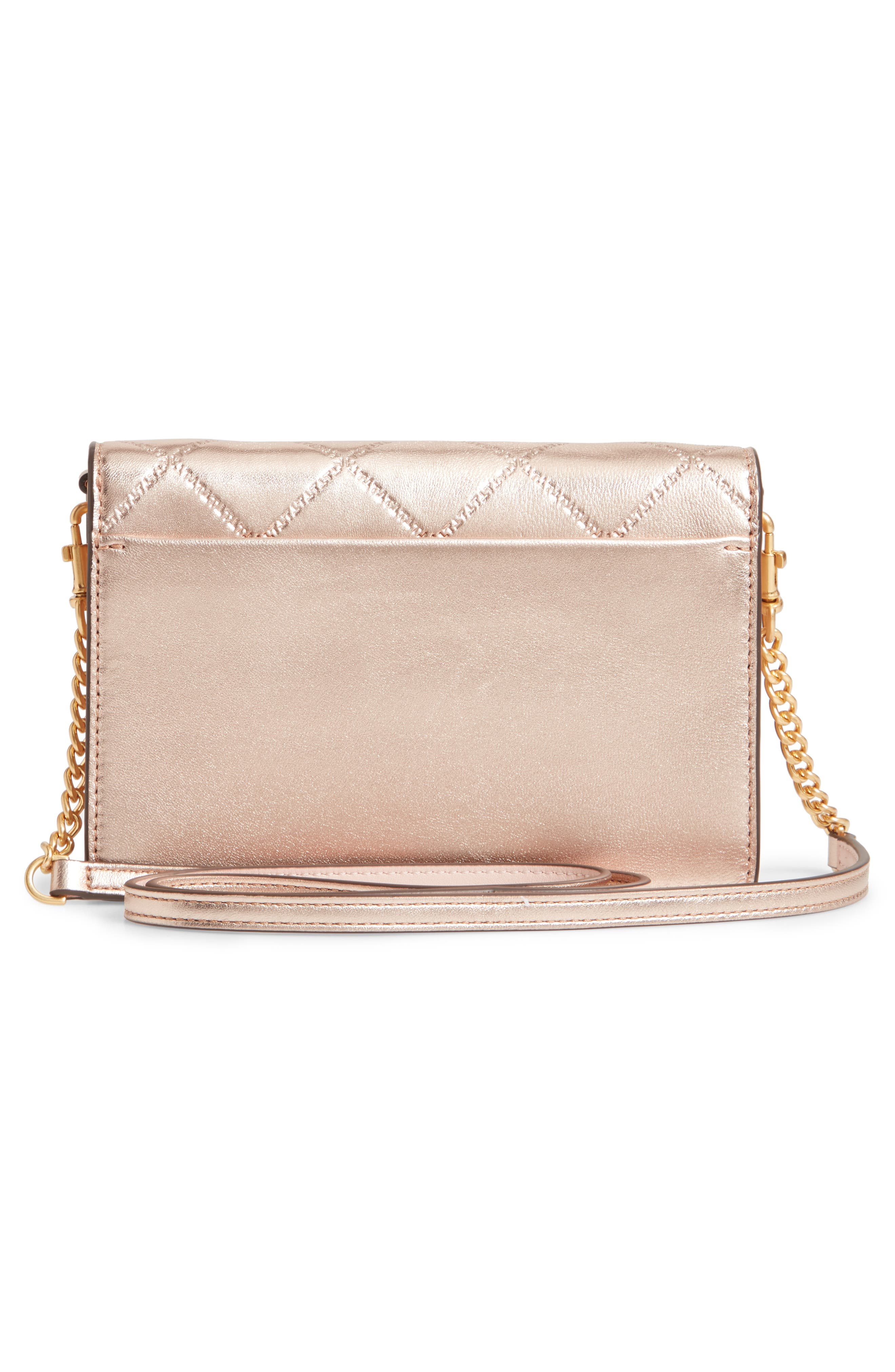 TORY BURCH,                             Mini Georgia Quilted Metallic Leather Shoulder Bag,                             Alternate thumbnail 3, color,                             650