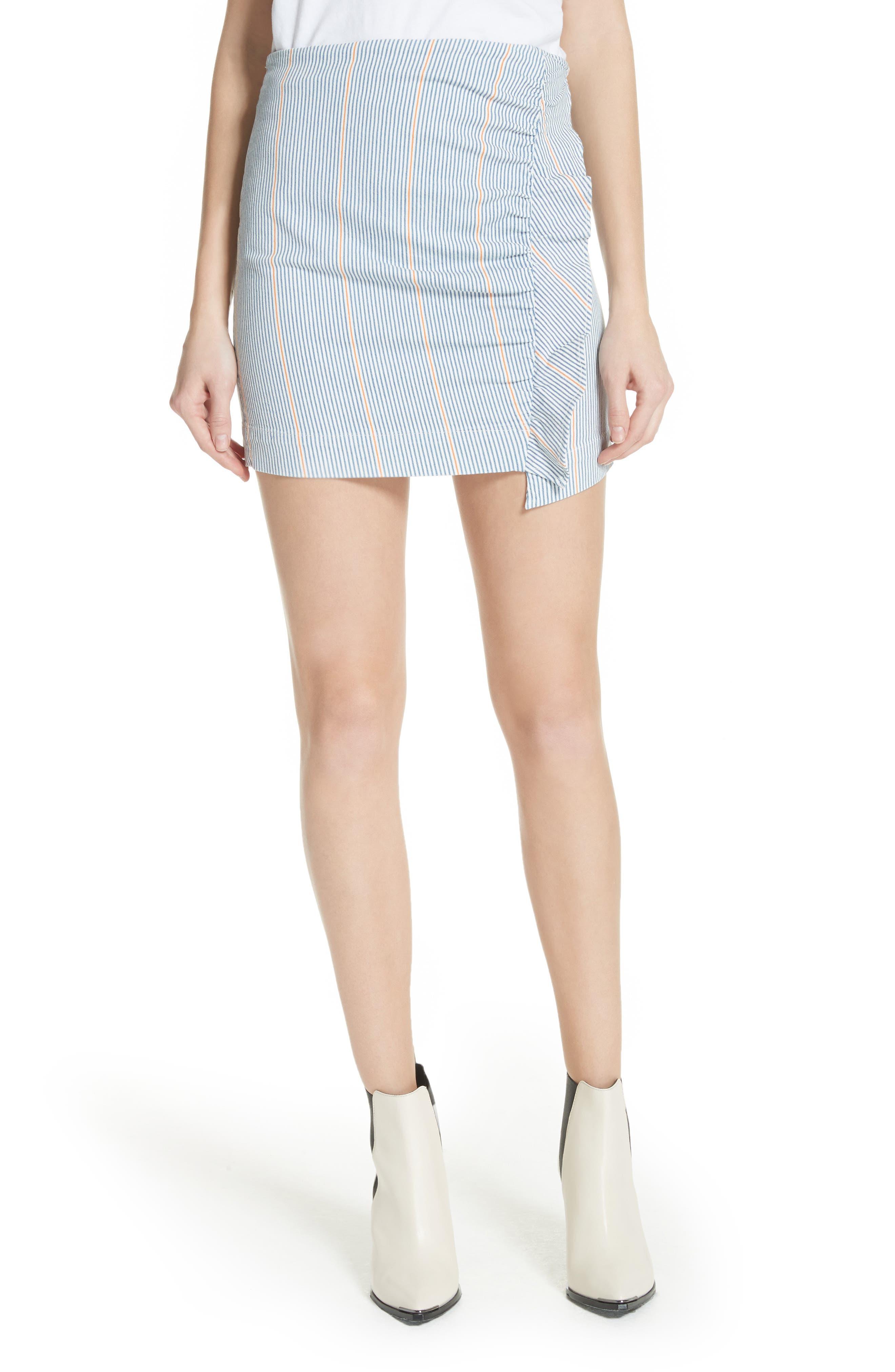 Jane Stripe Ruffle Detail Skirt,                             Main thumbnail 1, color,                             NILLIE SKIRT