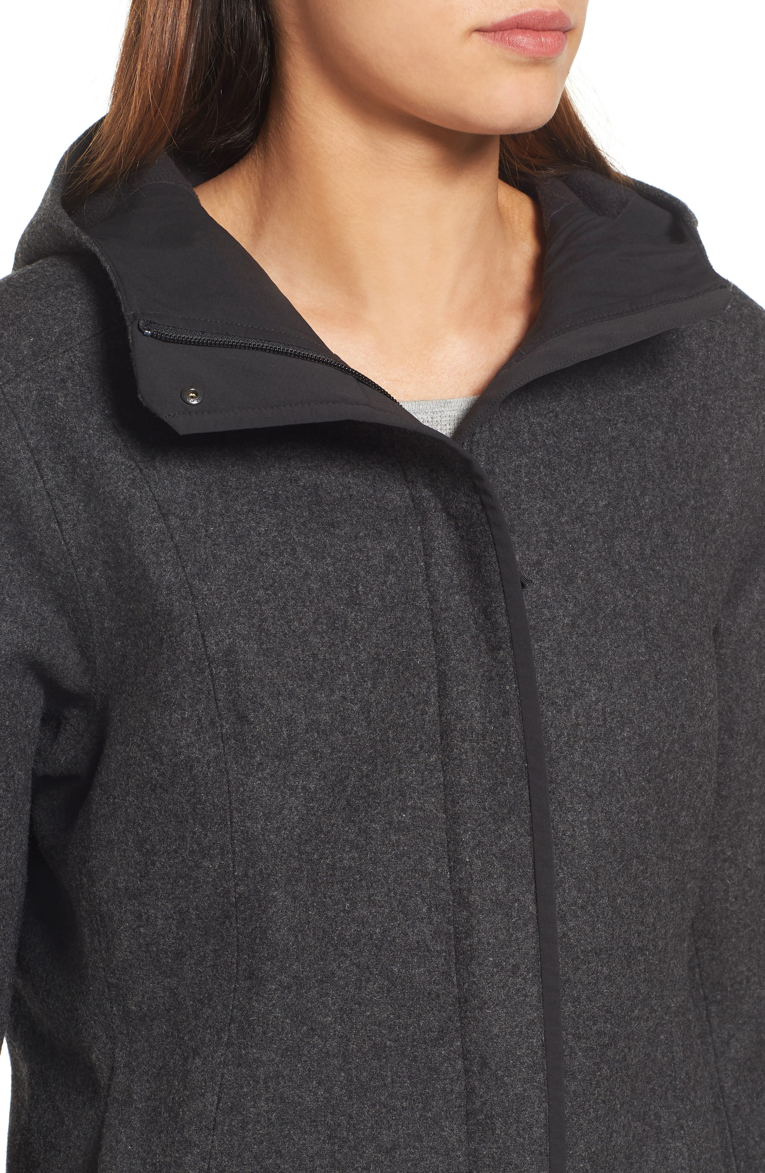 Embra Hooded Walking Coat,                             Alternate thumbnail 4, color,                             001