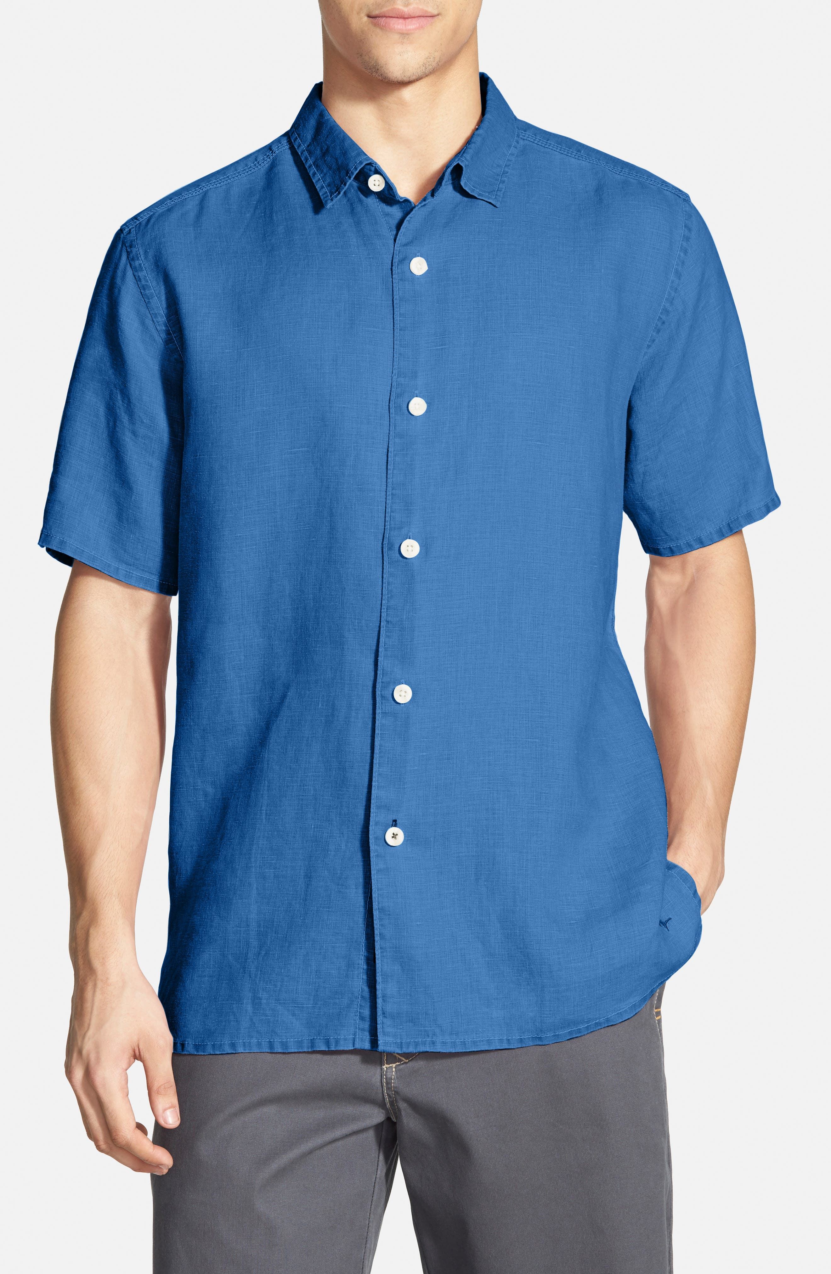 Seaglass Breezer Short Sleeve Linen Sport Shirt,                             Main thumbnail 13, color,