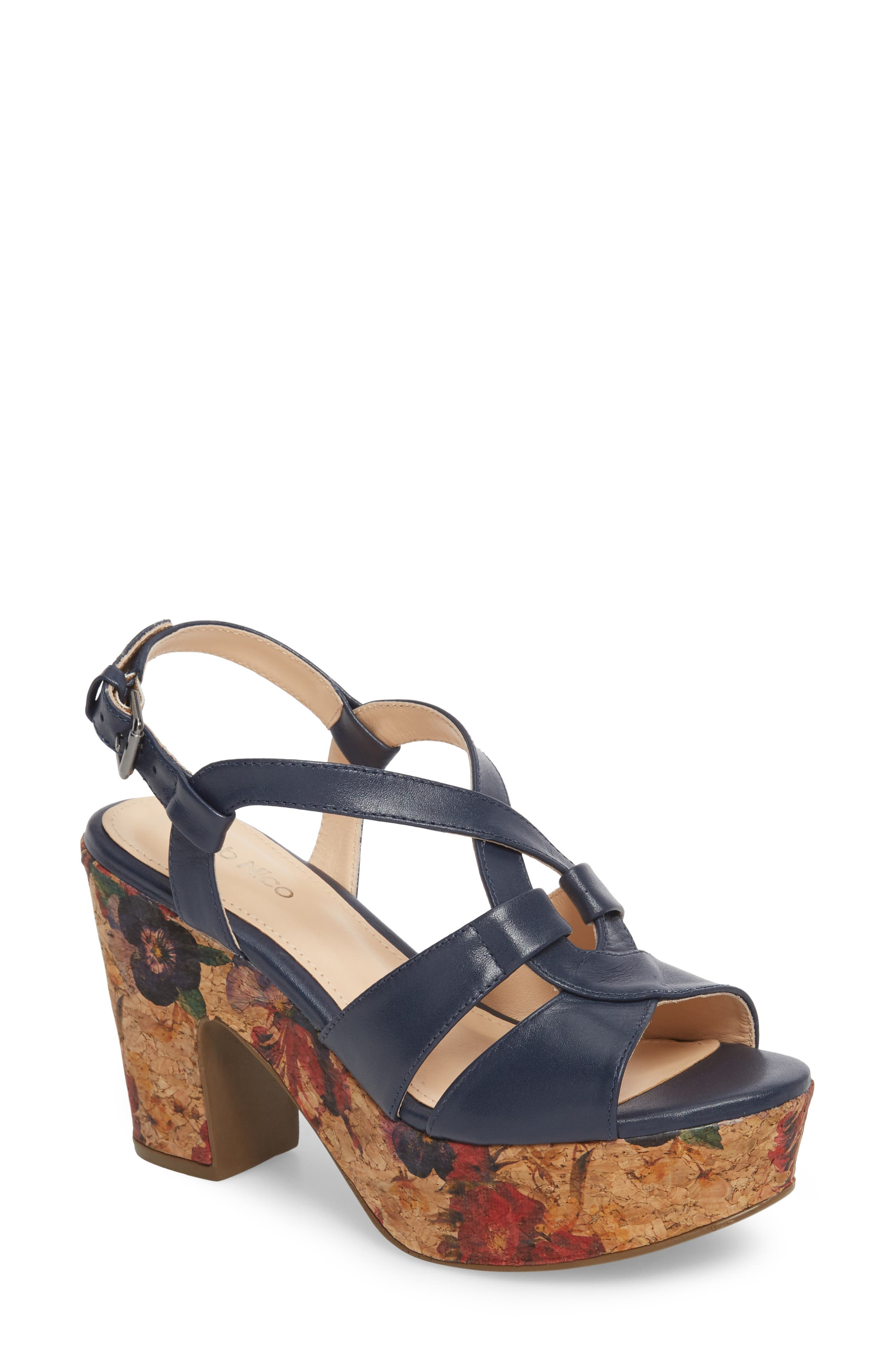 KLUB NICO Victoria Platform Sandal, Main, color, NAVY LEATHER