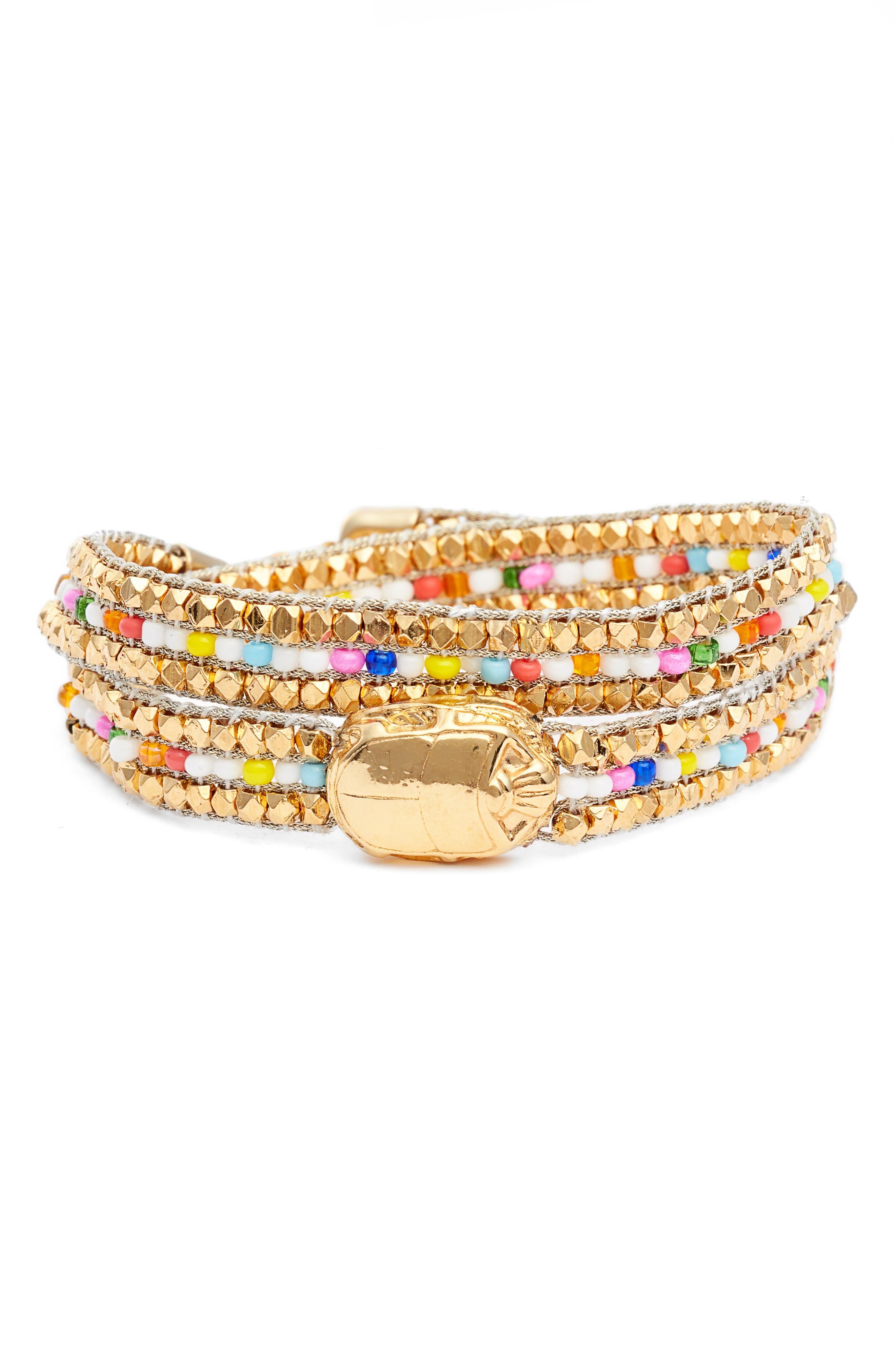 GAS BIJOUX Ulla Beaded Bracelet in White/ Gold
