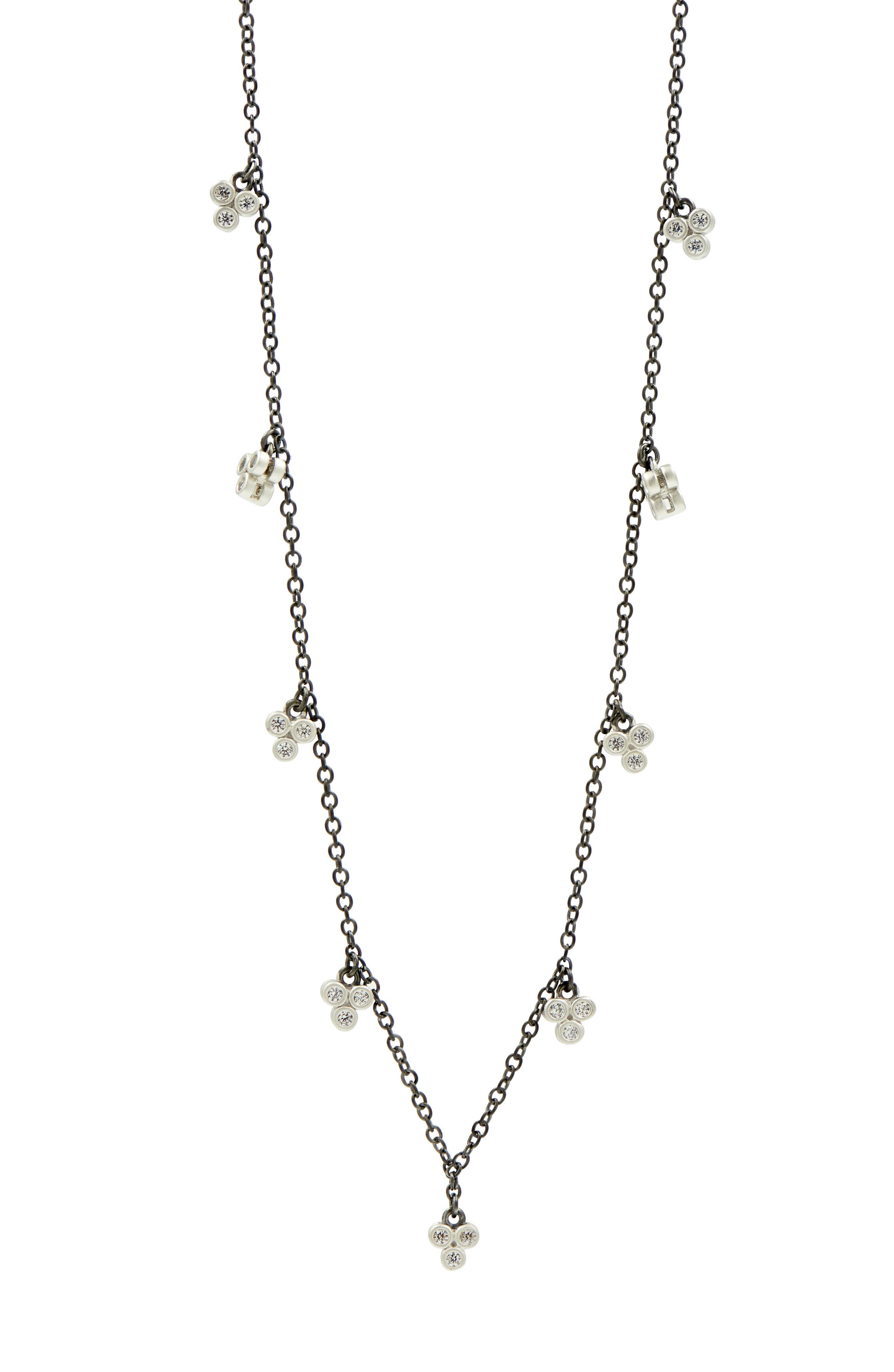 FREIDA ROTHMAN Industrial Finish 3-Point Charm Necklace in Black/ Silver
