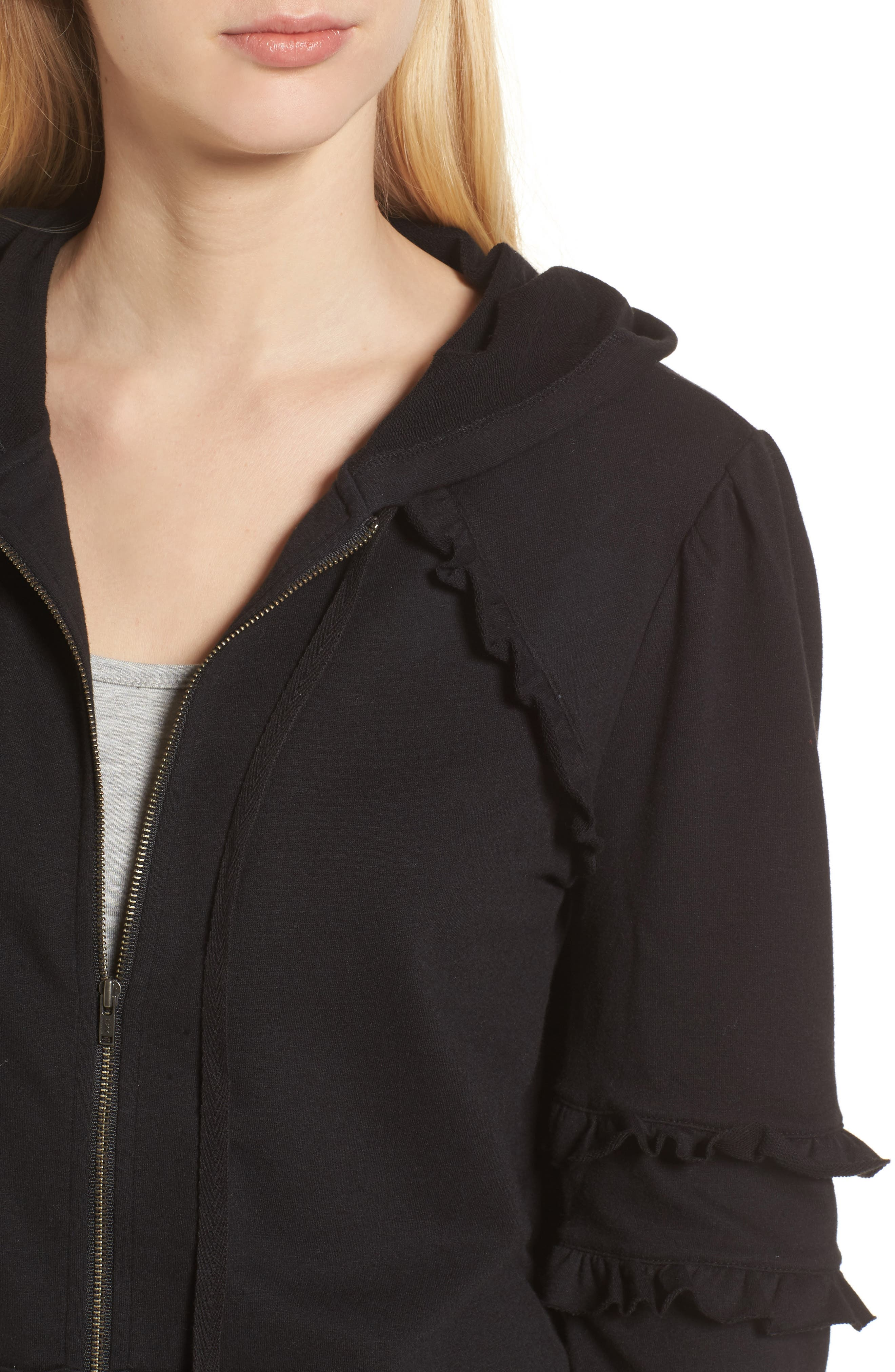 Ruffle Zip Hoodie,                             Alternate thumbnail 4, color,