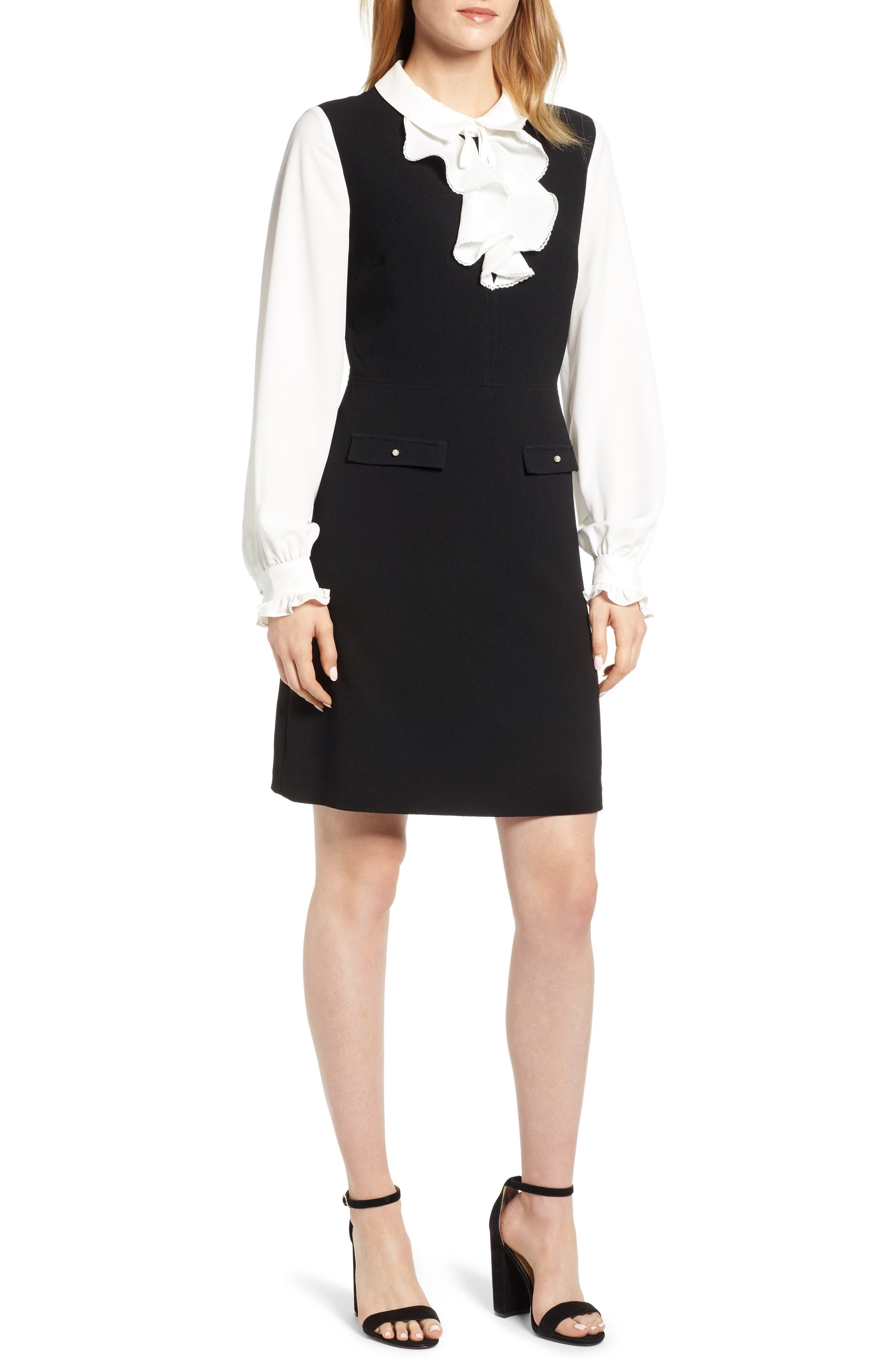 Ruffle Sweater Dress,                             Main thumbnail 1, color,                             BLACK/ WHITE