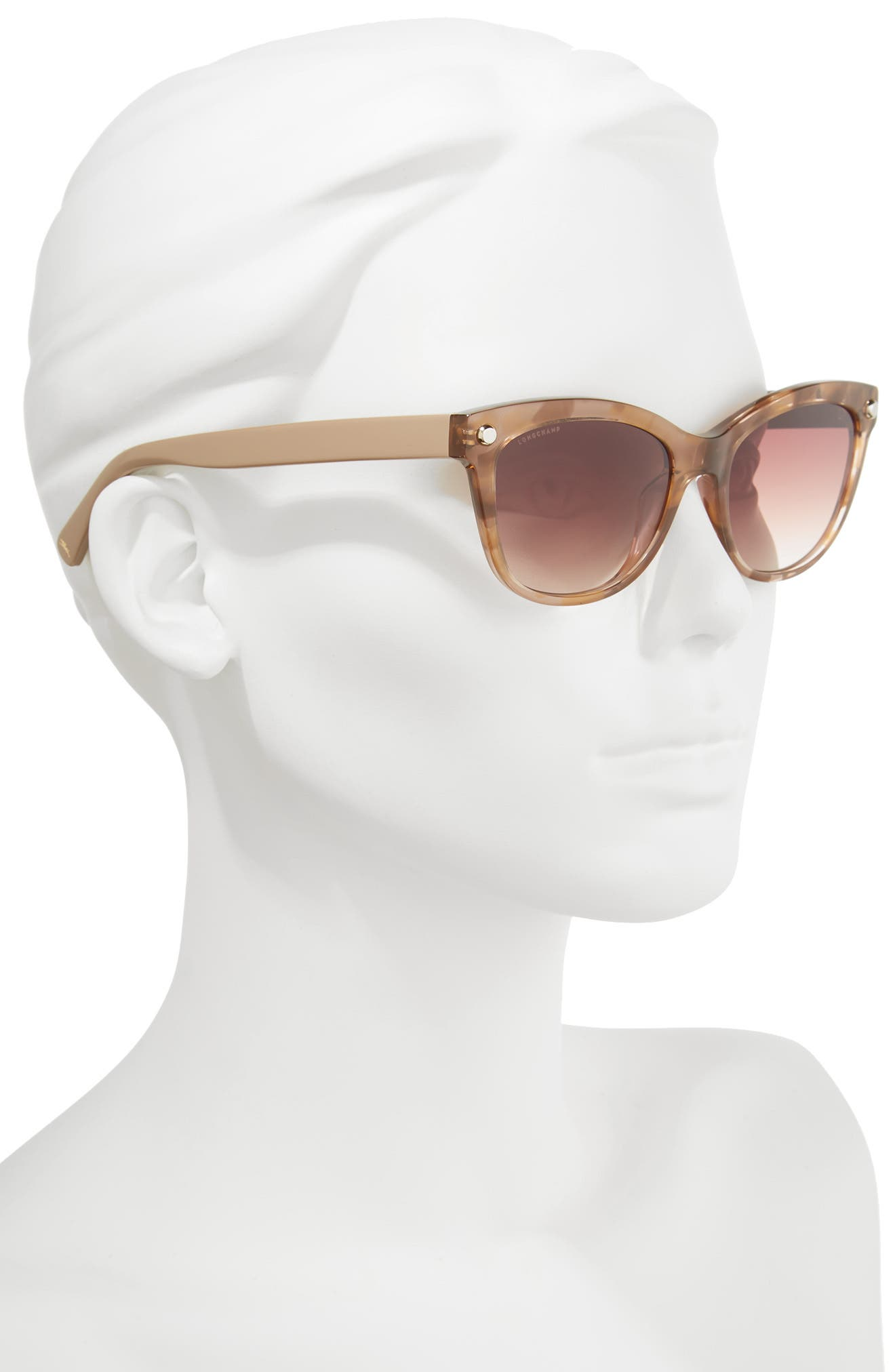 53mm Gradient Lens Cat Eye Sunglasses,                             Alternate thumbnail 2, color,                             MARBLE BEIGE