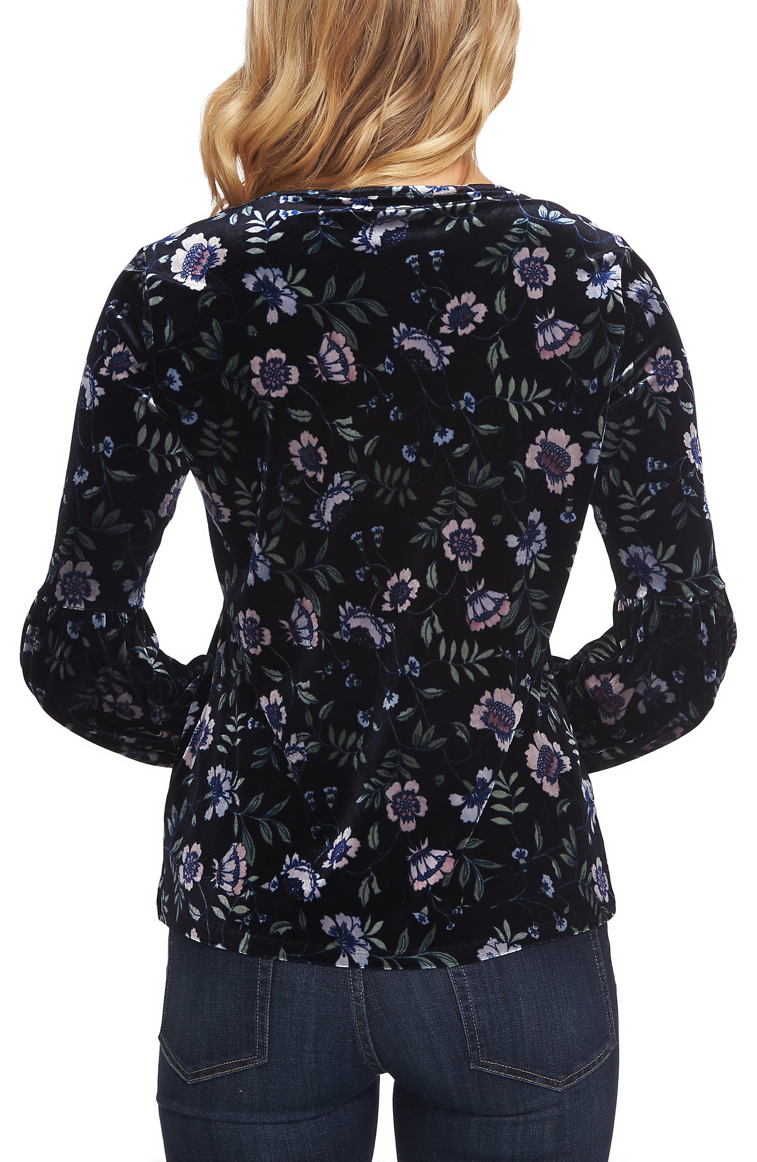 Bloomsbury Floral Puff Sleeve Stretch Velvet Blouse,                             Alternate thumbnail 2, color,                             400