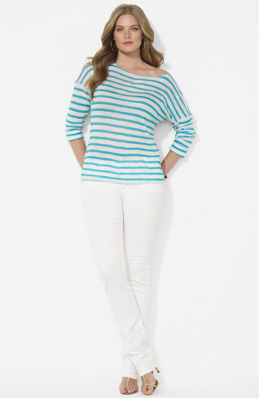 Stripe Drop Shoulder Top,                             Alternate thumbnail 3, color,
