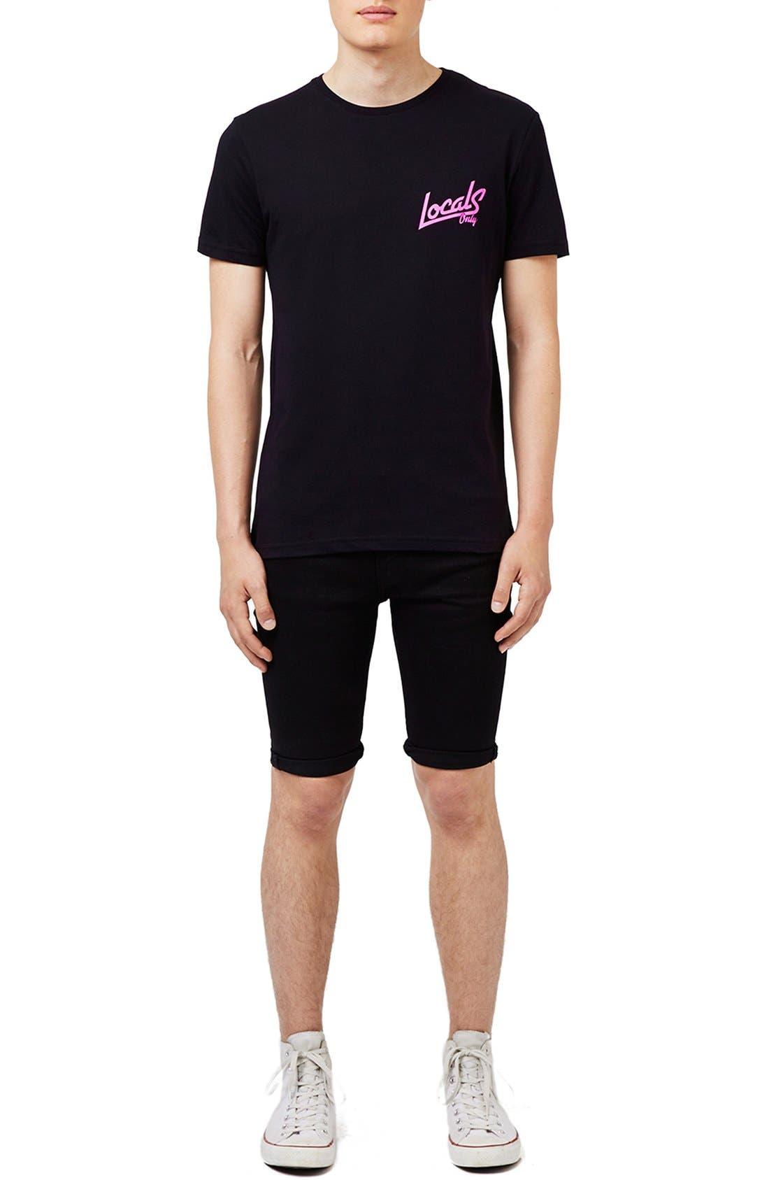 TOPMAN,                             'Locals Only' Graphic Crewneck T-Shirt,                             Alternate thumbnail 4, color,                             001