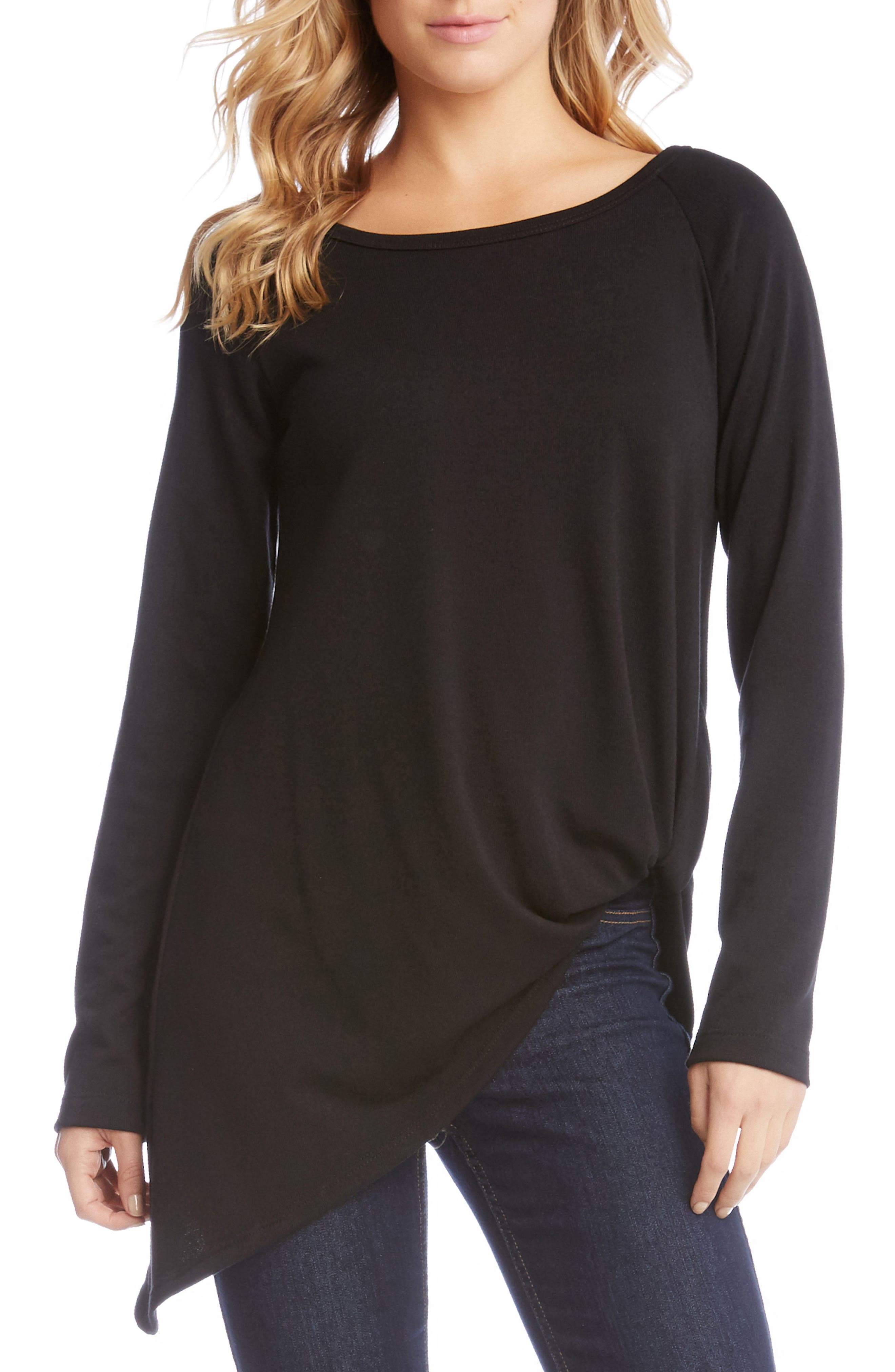 Pick Up Hem Sweater Knit Tunic Top,                         Main,                         color, 001