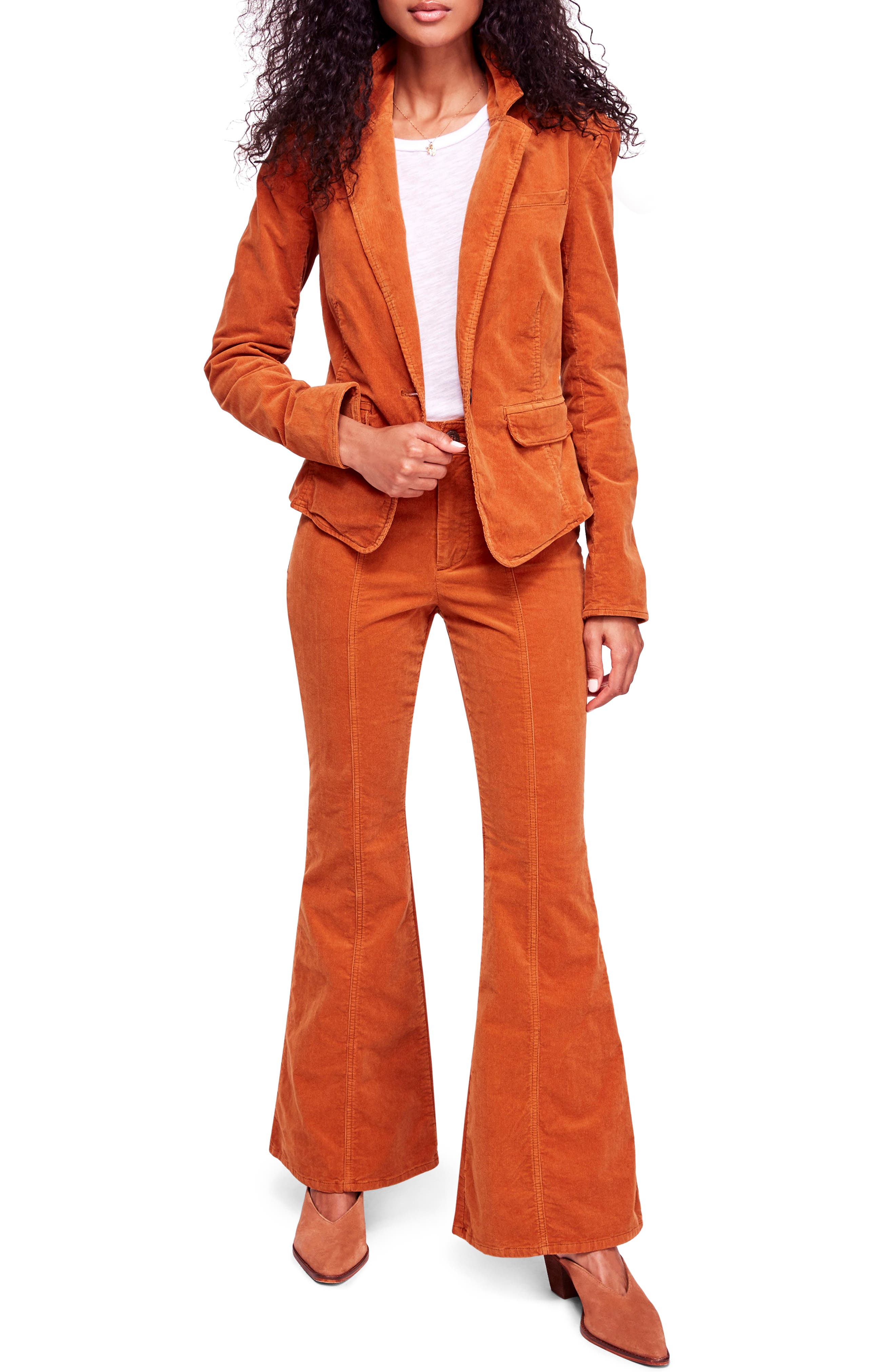 Vintage High Waisted Trousers, Sailor Pants, Jeans Womens Free People Heidi Two-Piece Cord Suit Size 4 - Brown $118.80 AT vintagedancer.com