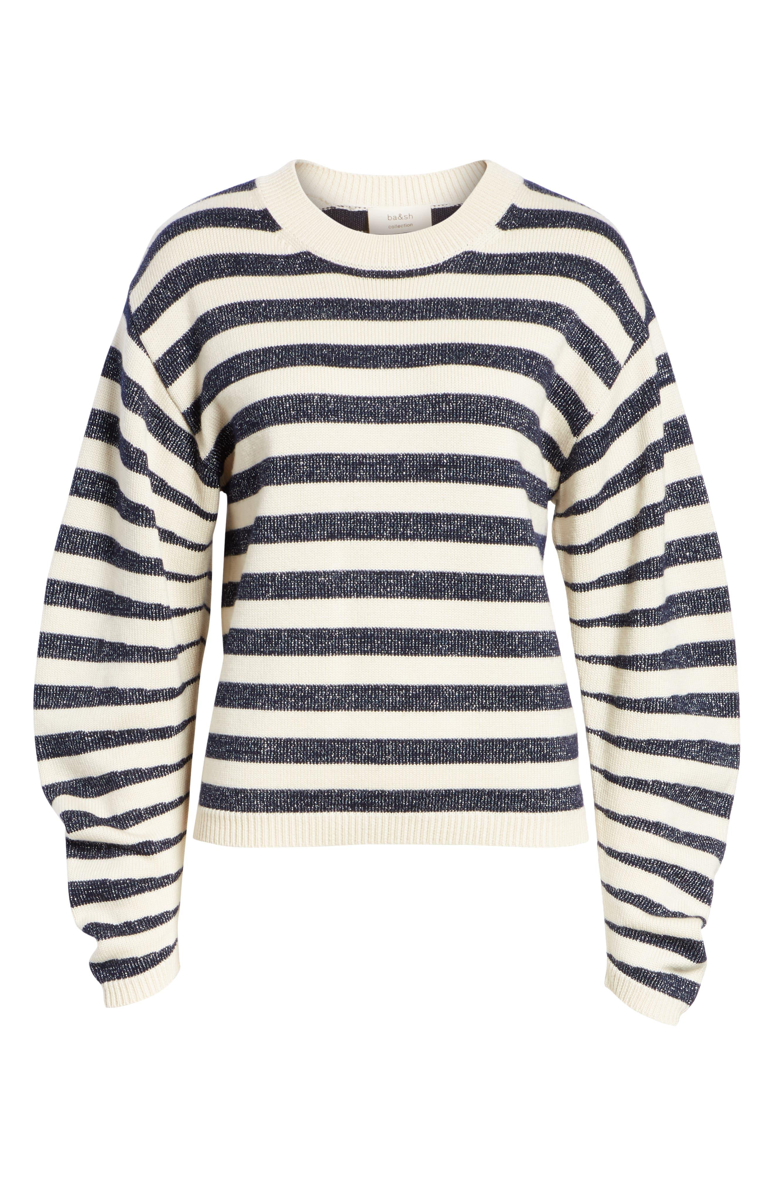 Sunday Stripe Wool Blend Sweater,                             Alternate thumbnail 6, color,                             WHITE