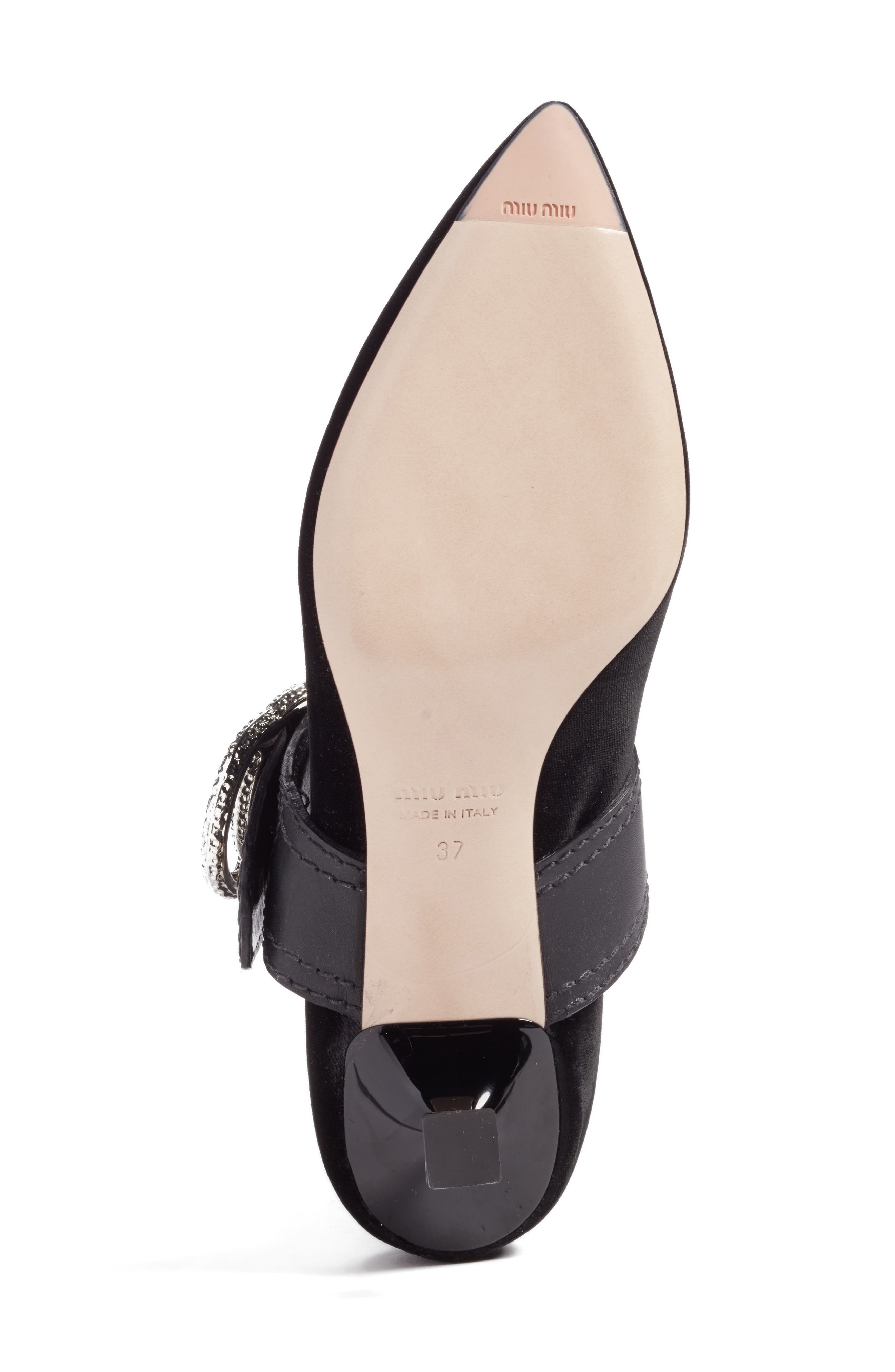 Embellished Buckle Pointy Toe Pump,                             Alternate thumbnail 6, color,                             001