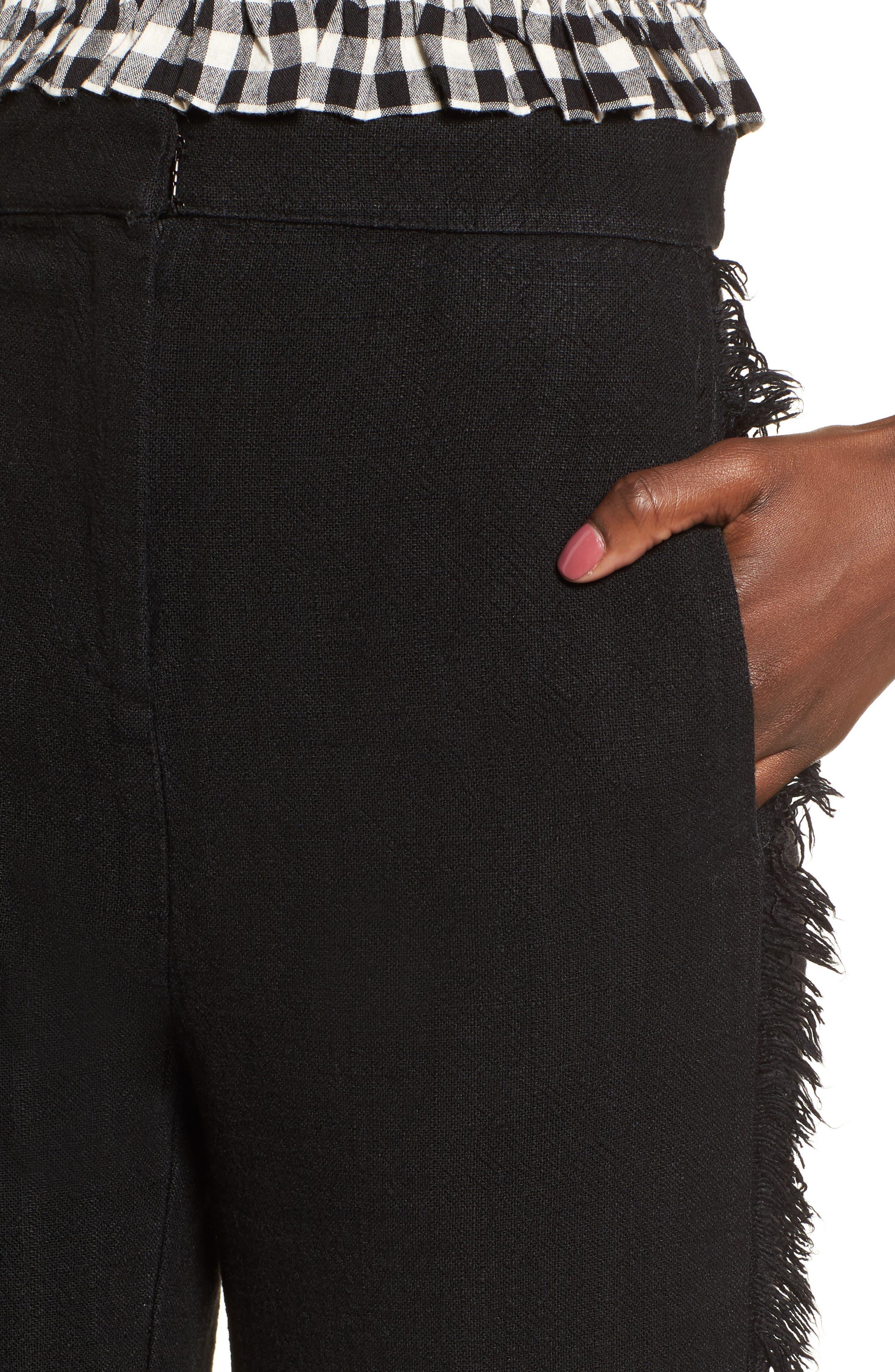Fringe Trim Wide Leg Pants,                             Alternate thumbnail 4, color,                             001