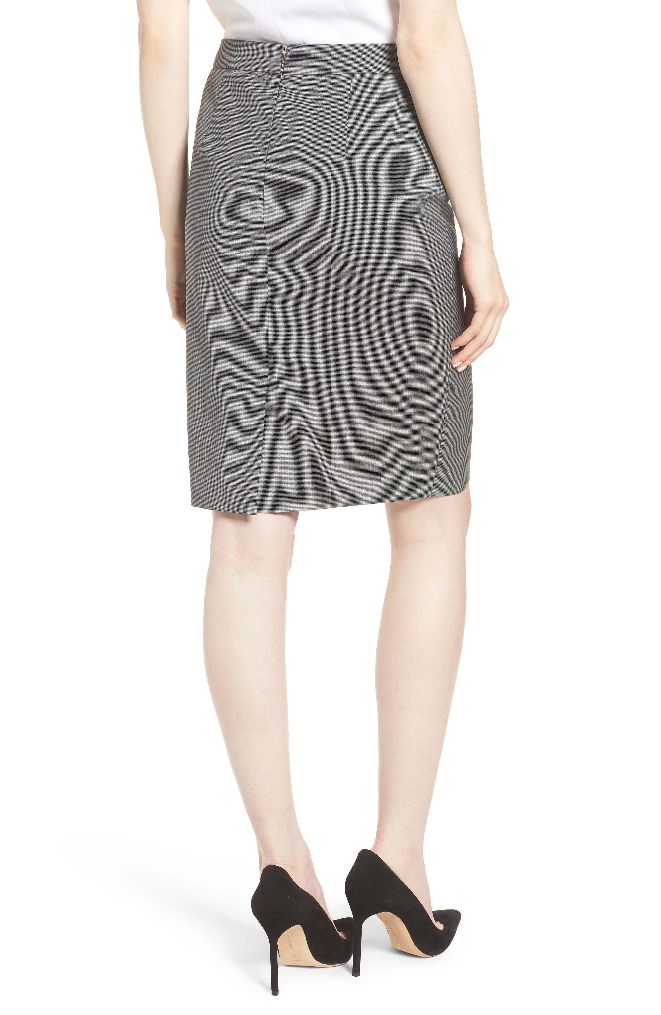 Vimena Mini Houndstooth Stretch Wool Pencil Skirt,                             Alternate thumbnail 2, color,                             060