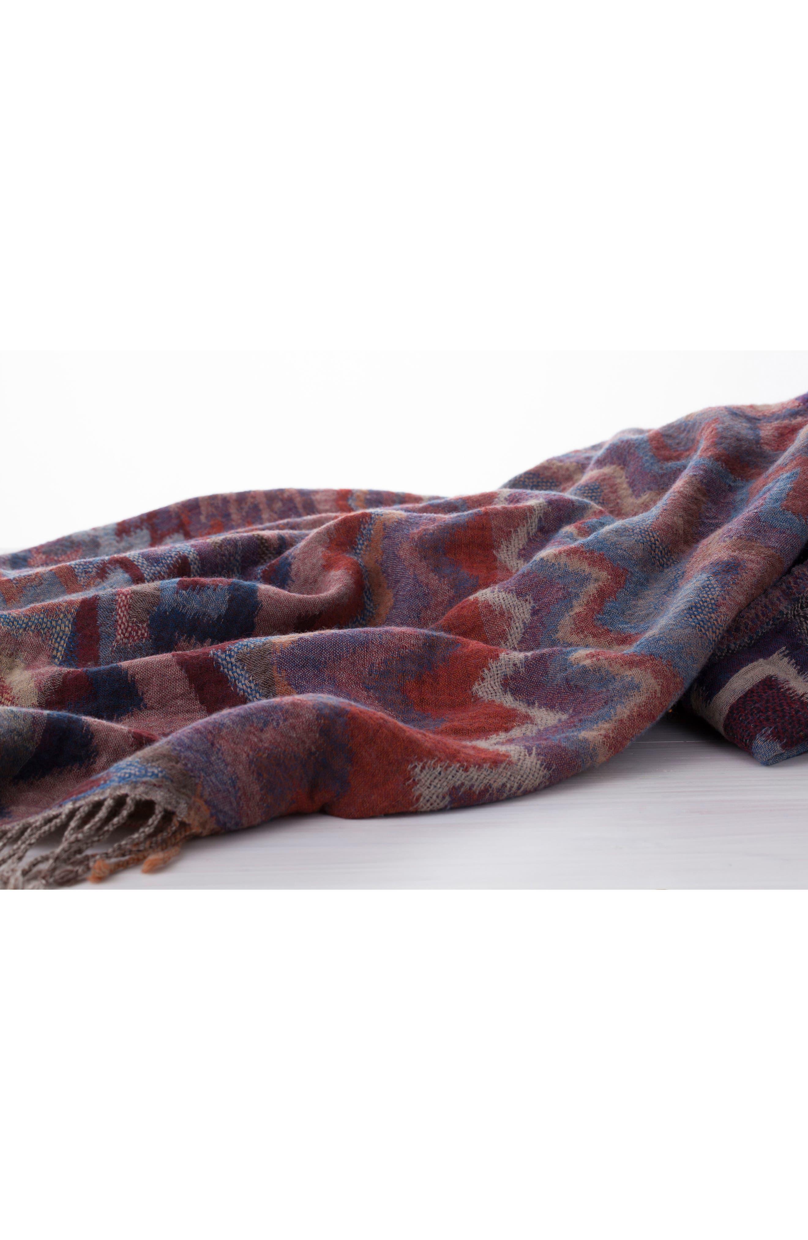 Chevron Double Face Merino Wool Throw,                             Alternate thumbnail 3, color,                             ZIG ZAG