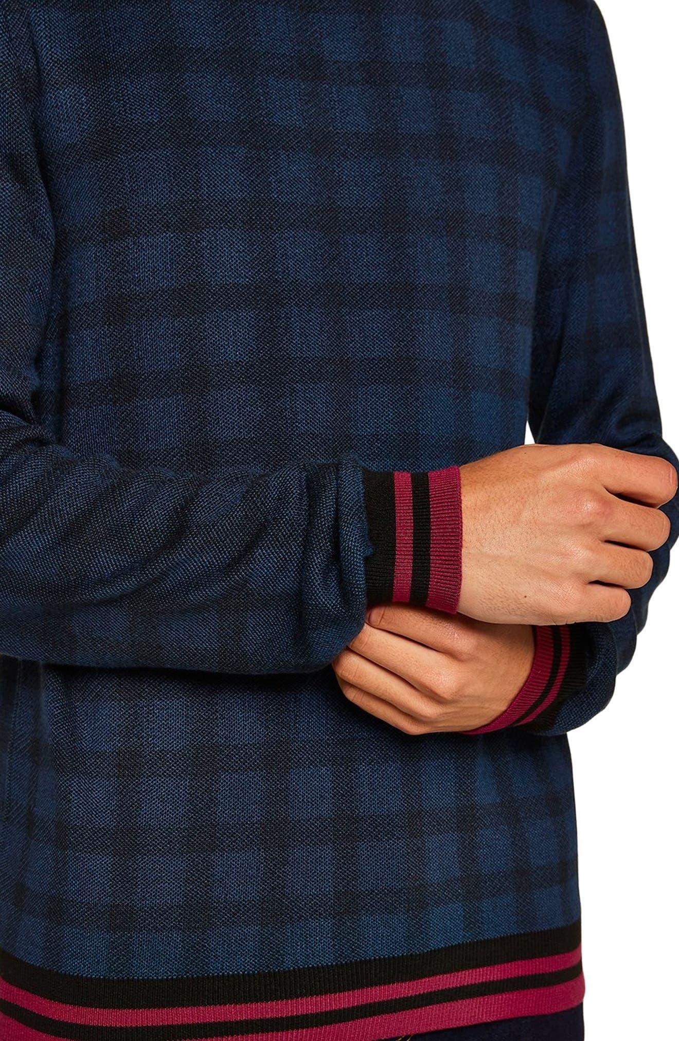 Check Print Classic Fit Sweater,                             Alternate thumbnail 3, color,                             BLUE MULTI