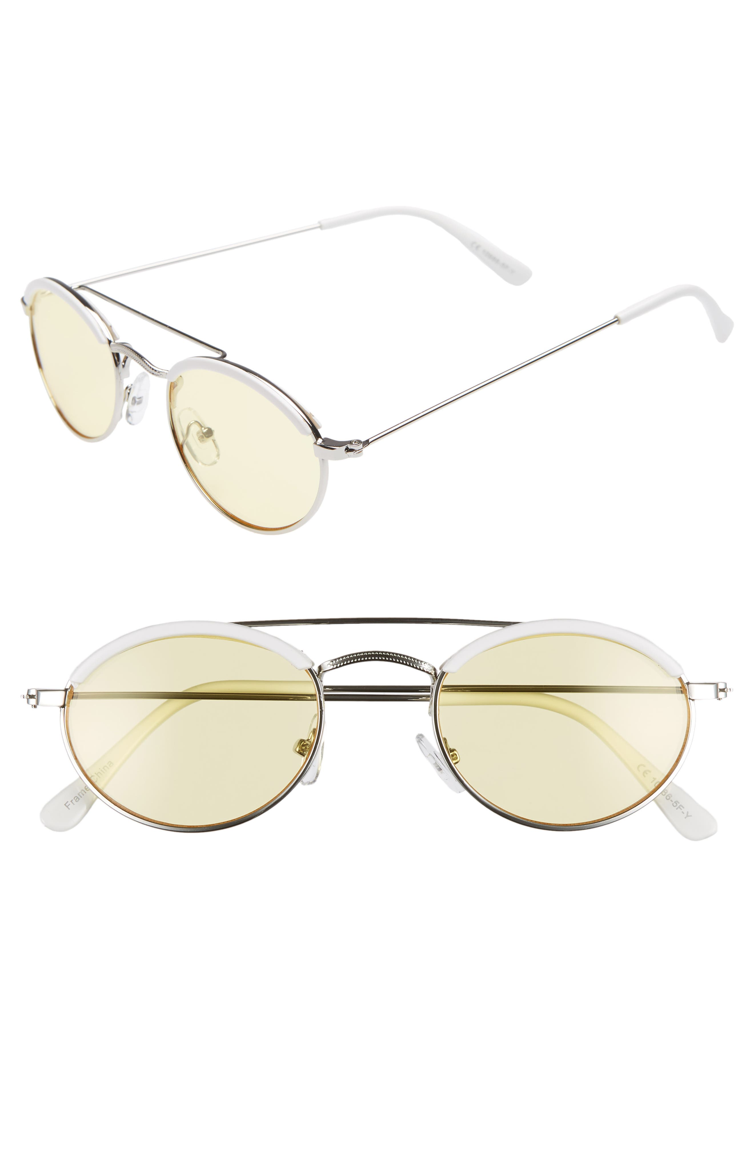 50mm Round Sunglasses,                             Main thumbnail 1, color,                             WHITE/ YELLOW