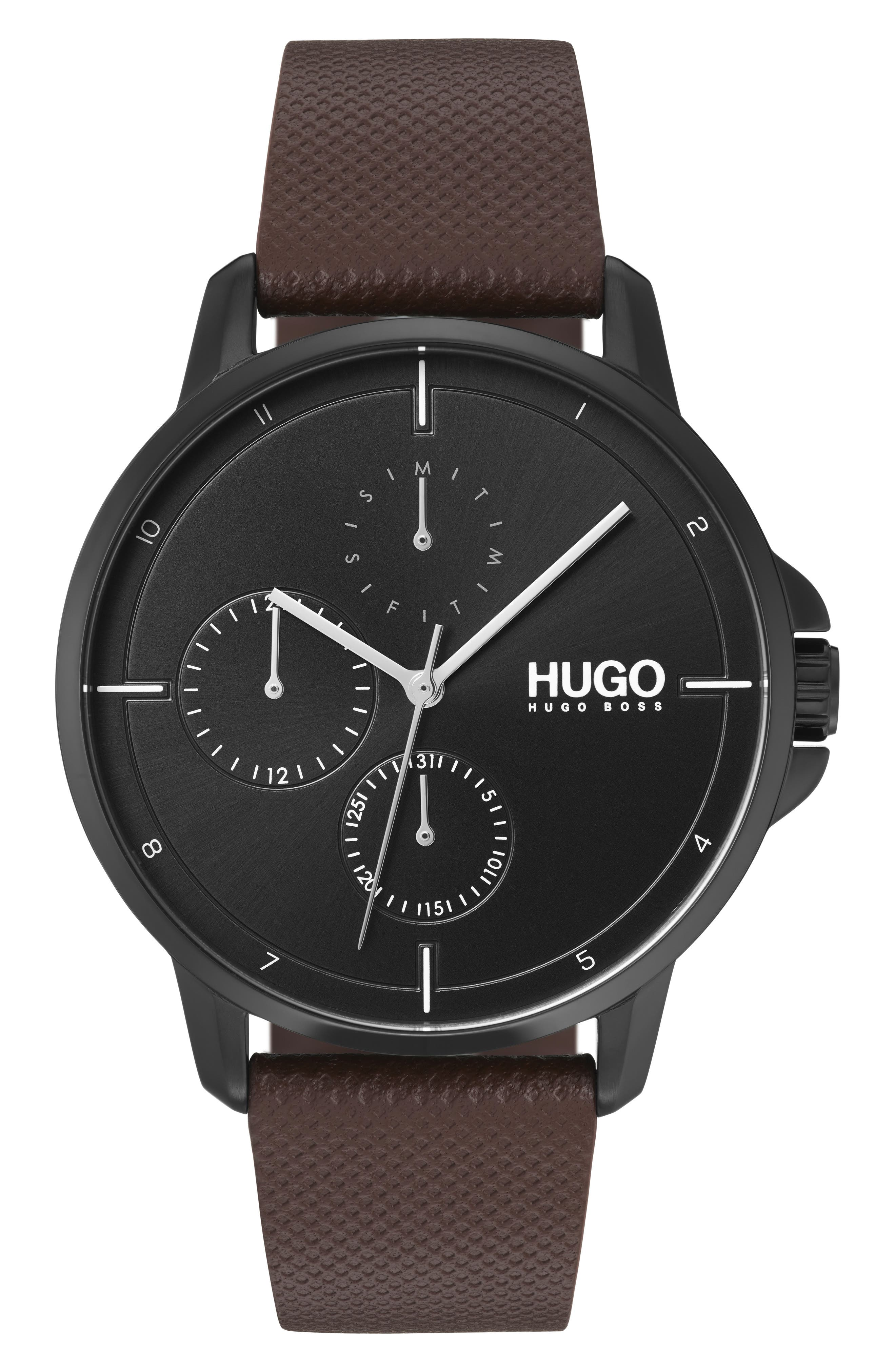 Leather Strap Watch, 42mm,                         Main,                         color, BLACK