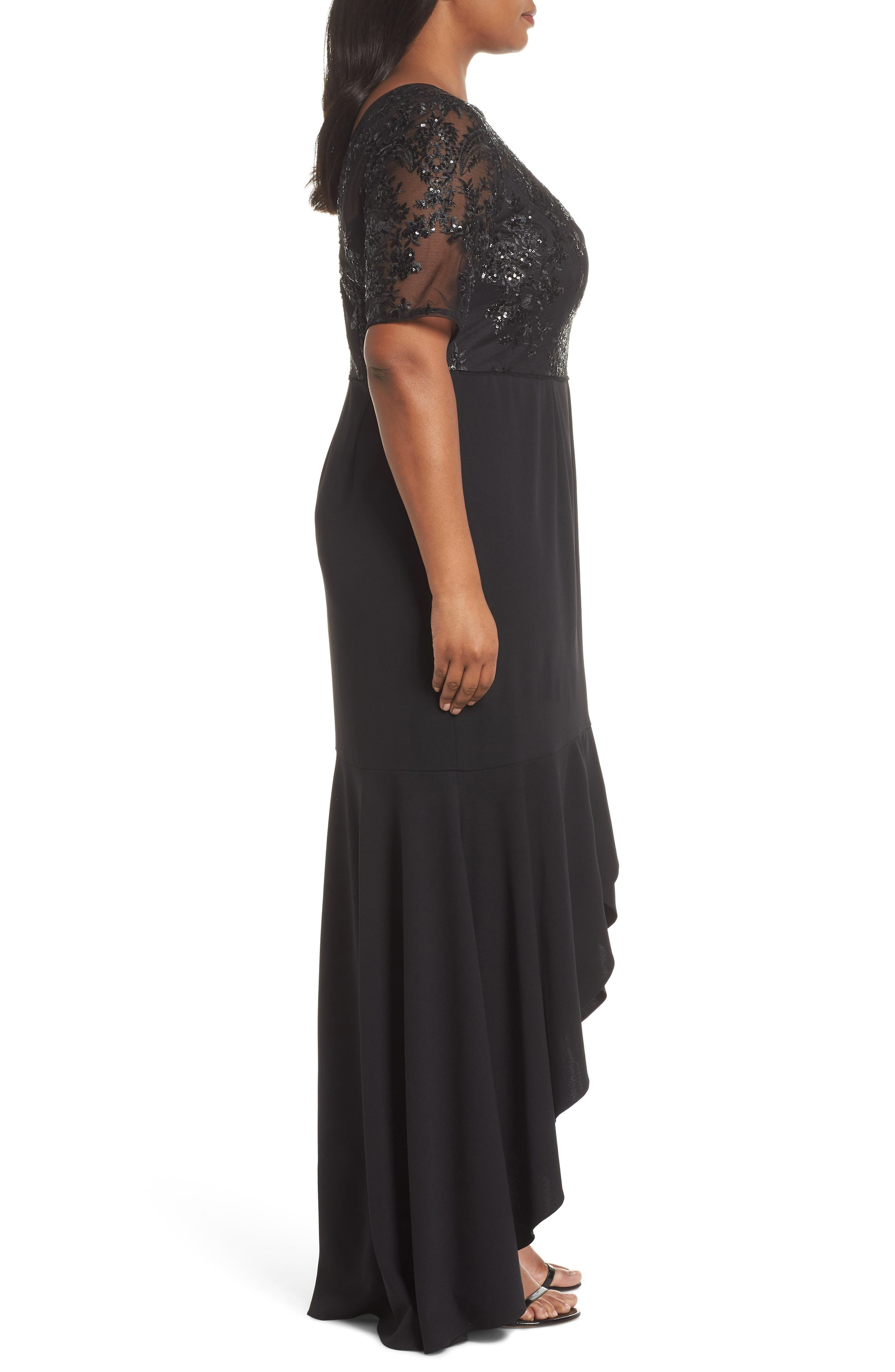 Sequin Bodice High/Low Gown,                             Alternate thumbnail 3, color,                             001