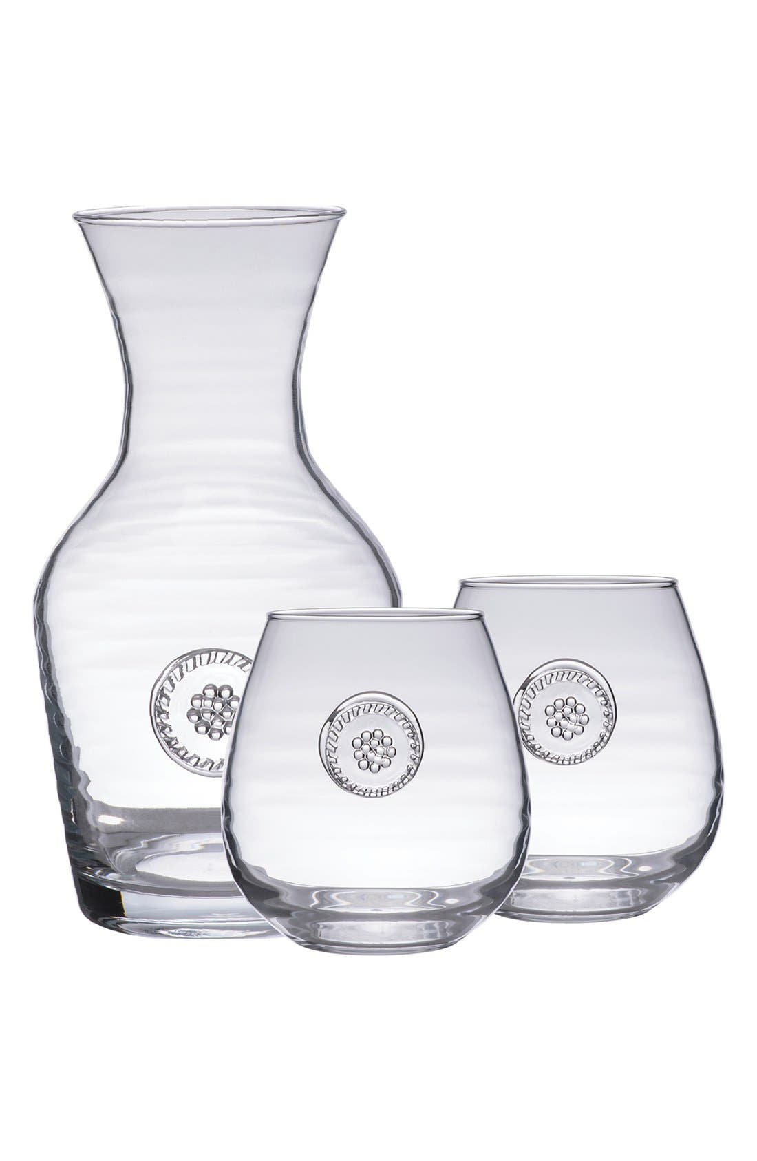 'Berry and Thread' Carafe & StemlessRed WineGlasses,                         Main,                         color, CLEAR