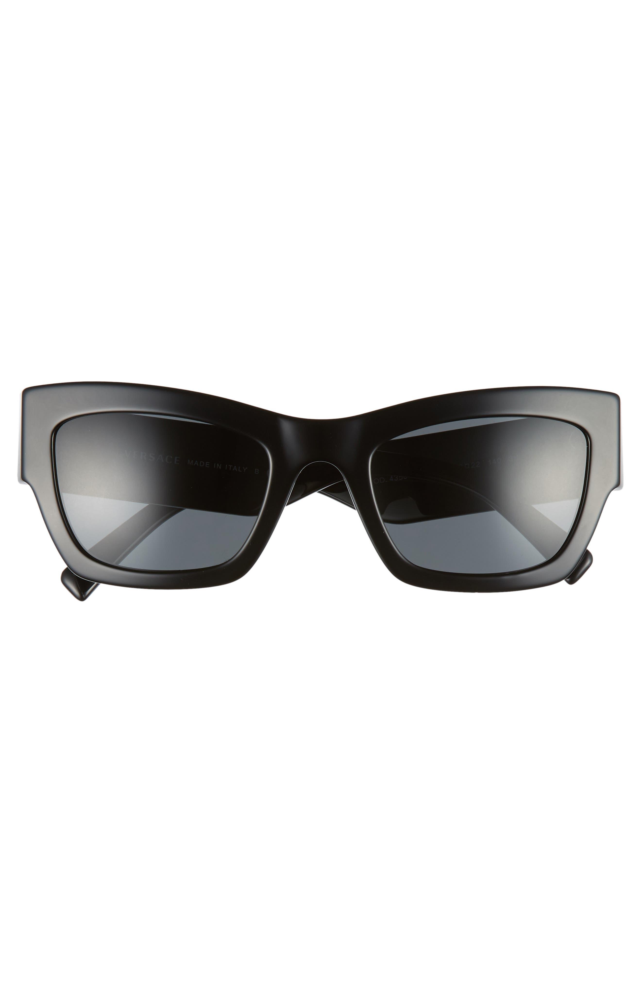 Medusa 52mm Square Sunglasses,                             Alternate thumbnail 3, color,                             GREY SOLID