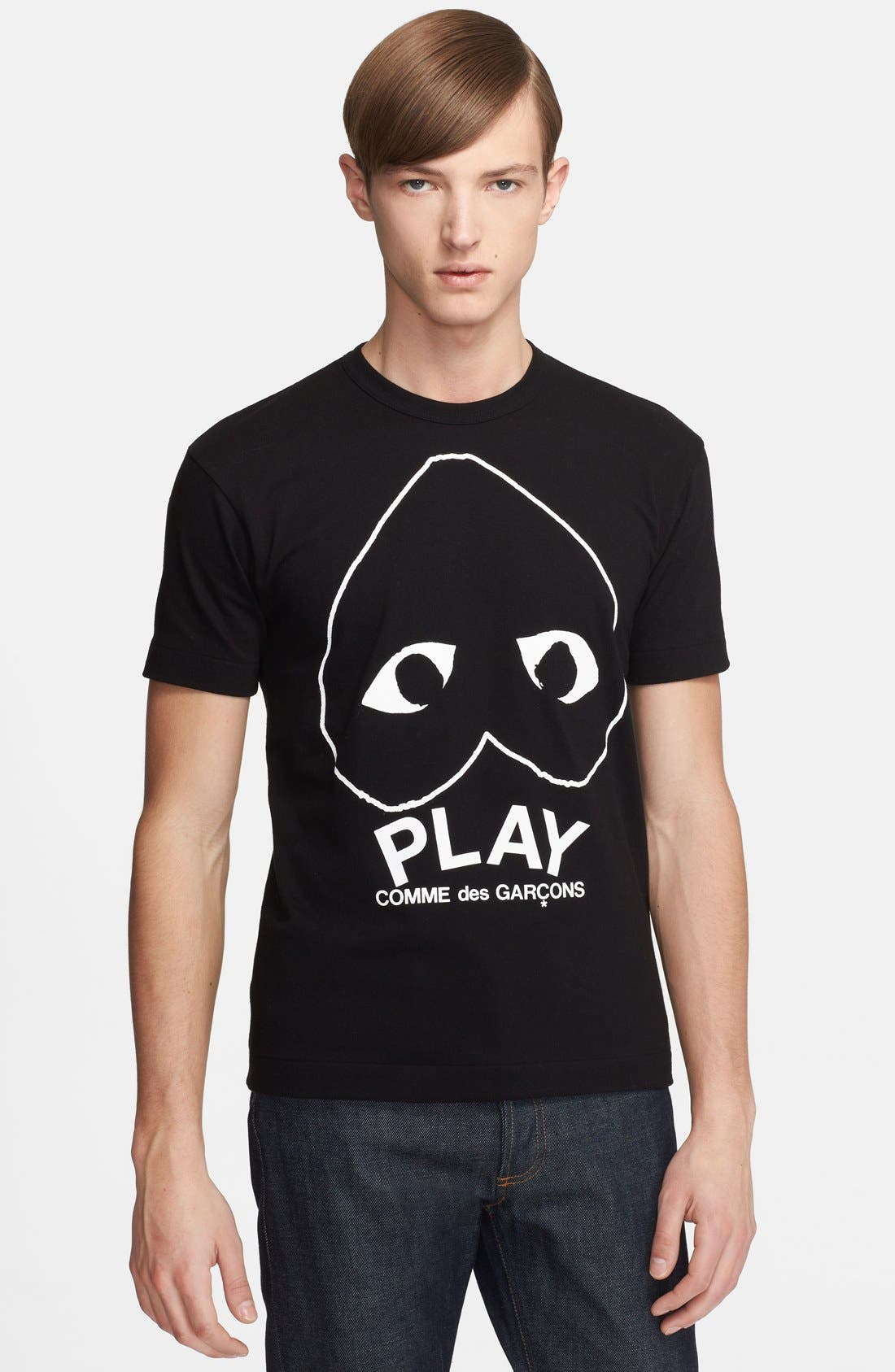 Comme des Garçons PLAY Inverted Heart Logo T-Shirt,                             Main thumbnail 1, color,