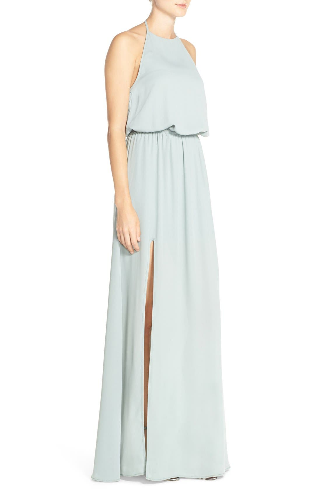 Heather Chiffon Halter Gown,                             Alternate thumbnail 15, color,