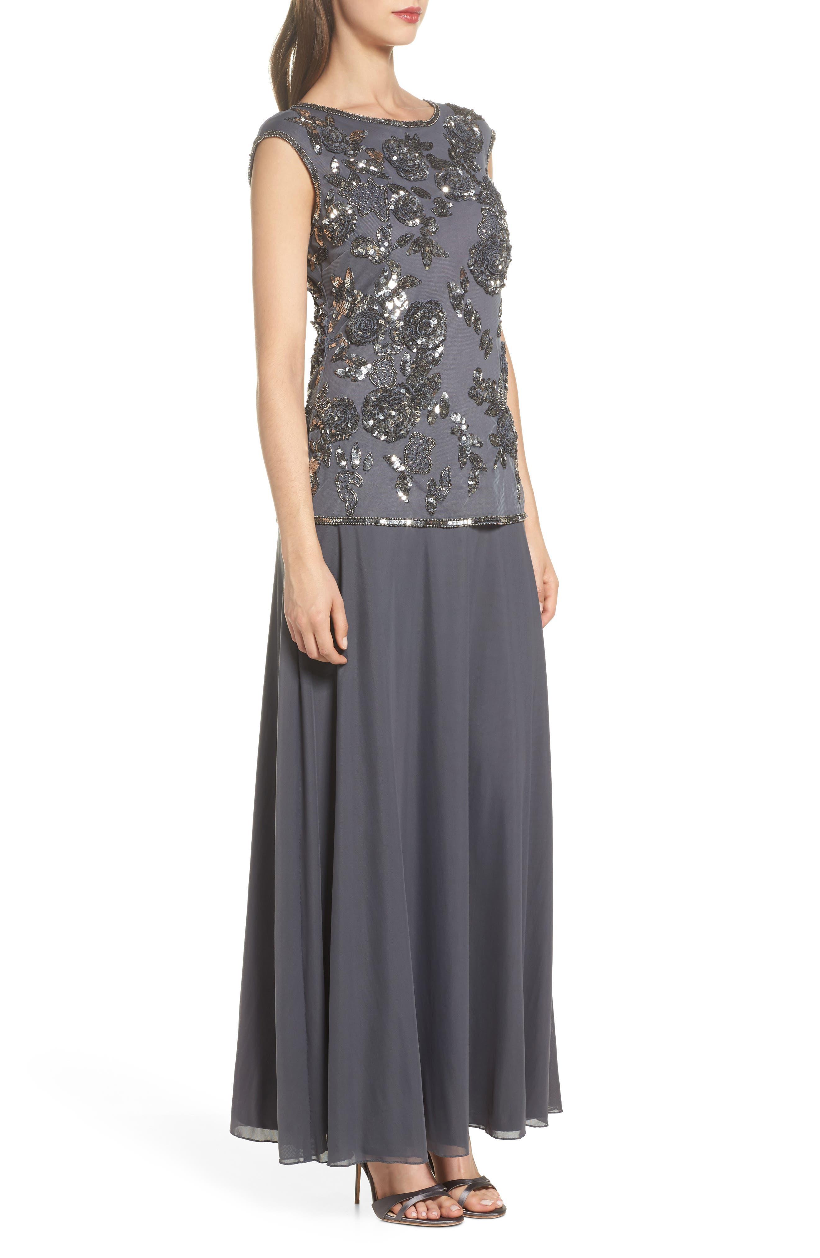 Embellished Long Dress,                             Alternate thumbnail 3, color,                             020