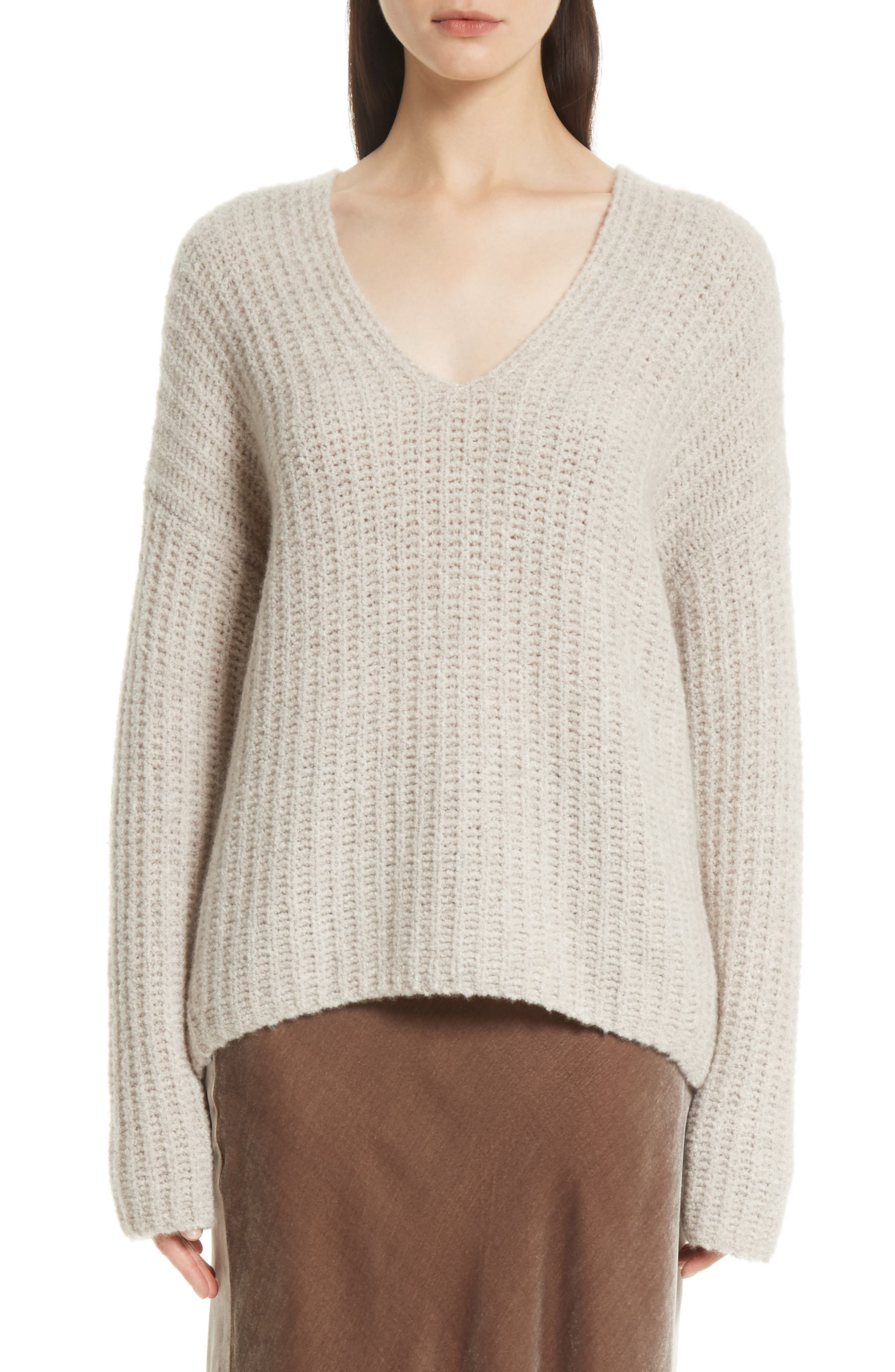 Deep V-Neck Cashmere Blend Sweater,                             Main thumbnail 1, color,                             255