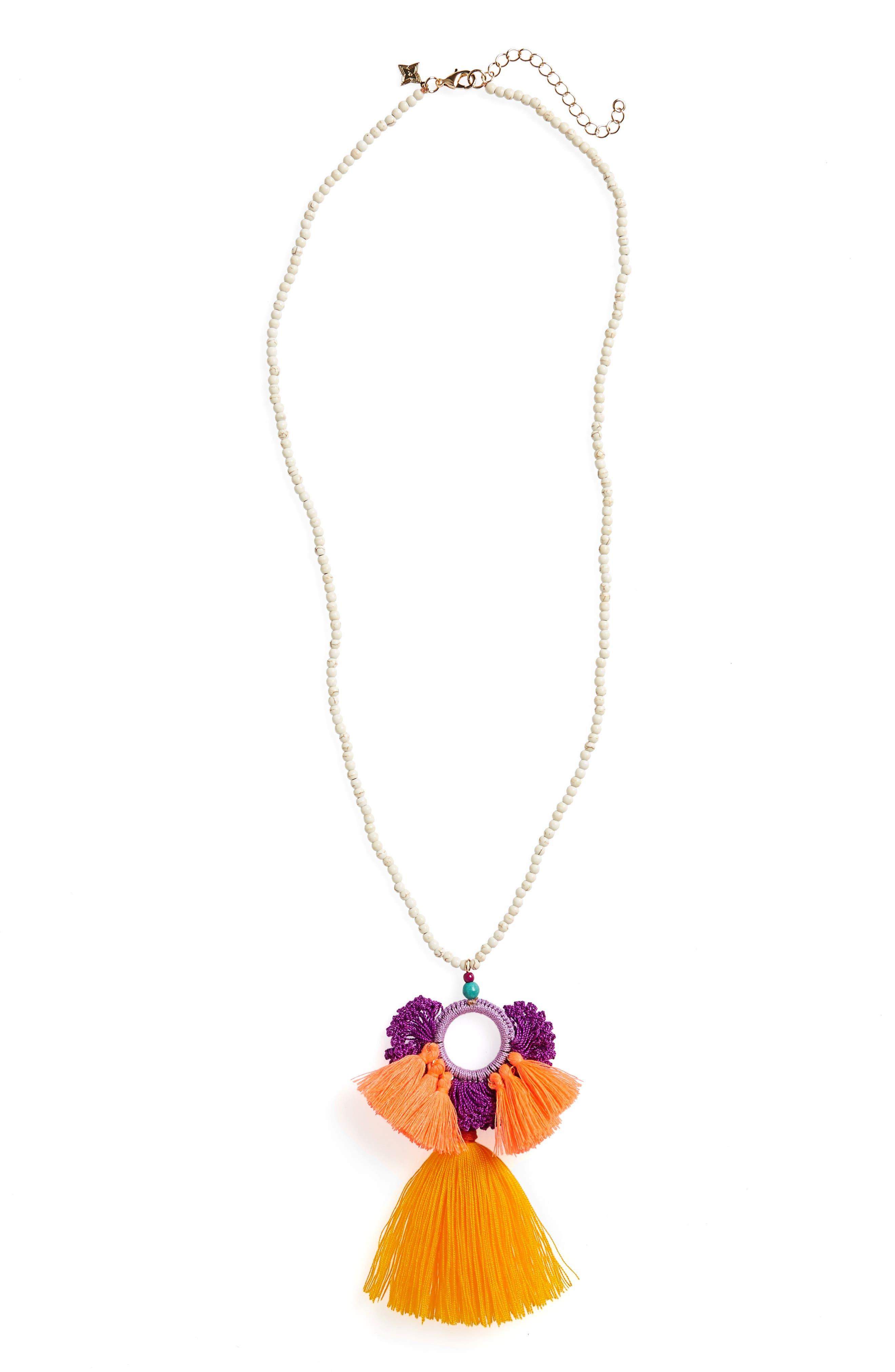 Tassel Pendant Necklace,                         Main,                         color, 800
