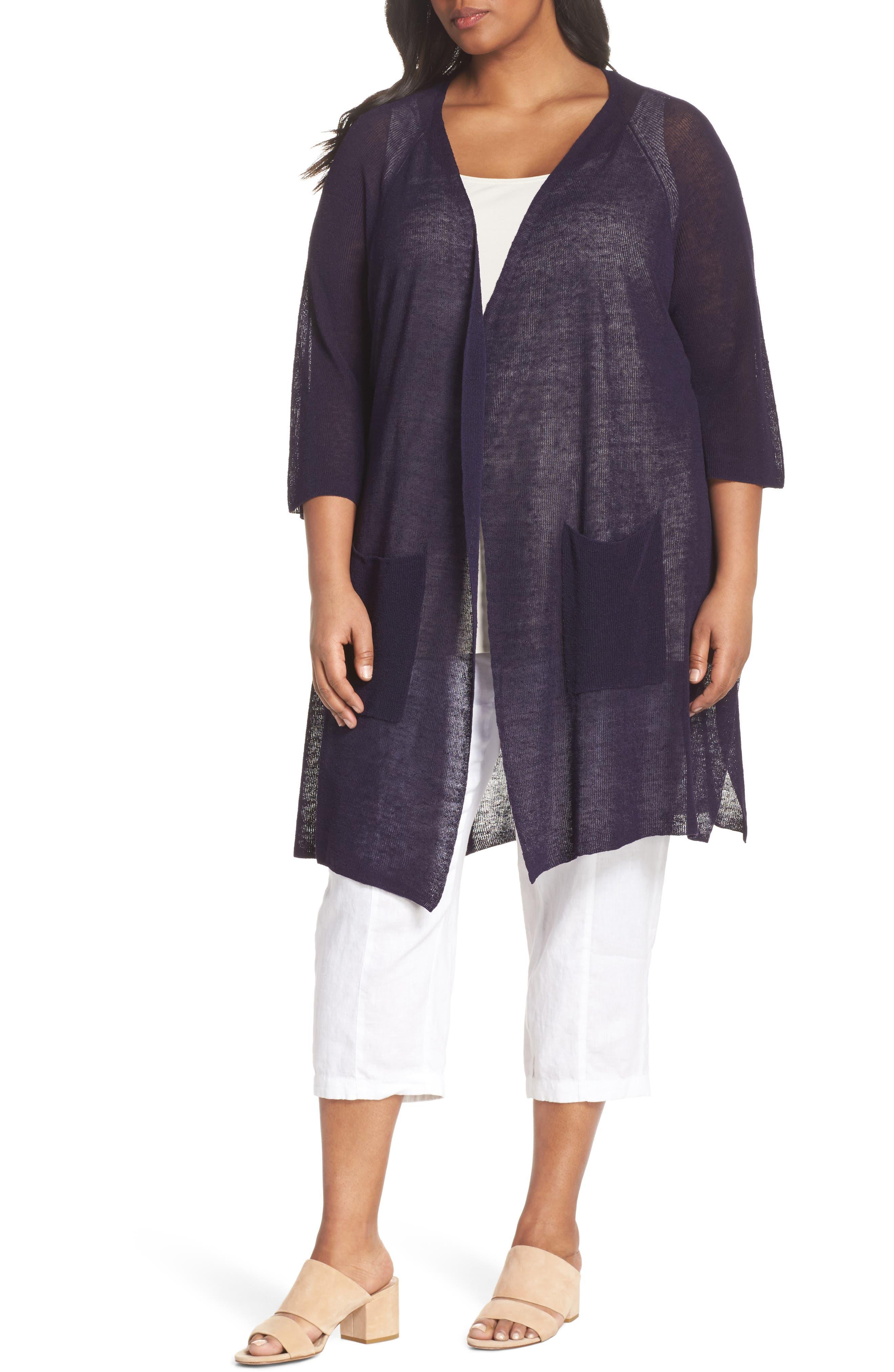 Long Organic Linen Blend Kimono Cardigan,                             Main thumbnail 3, color,